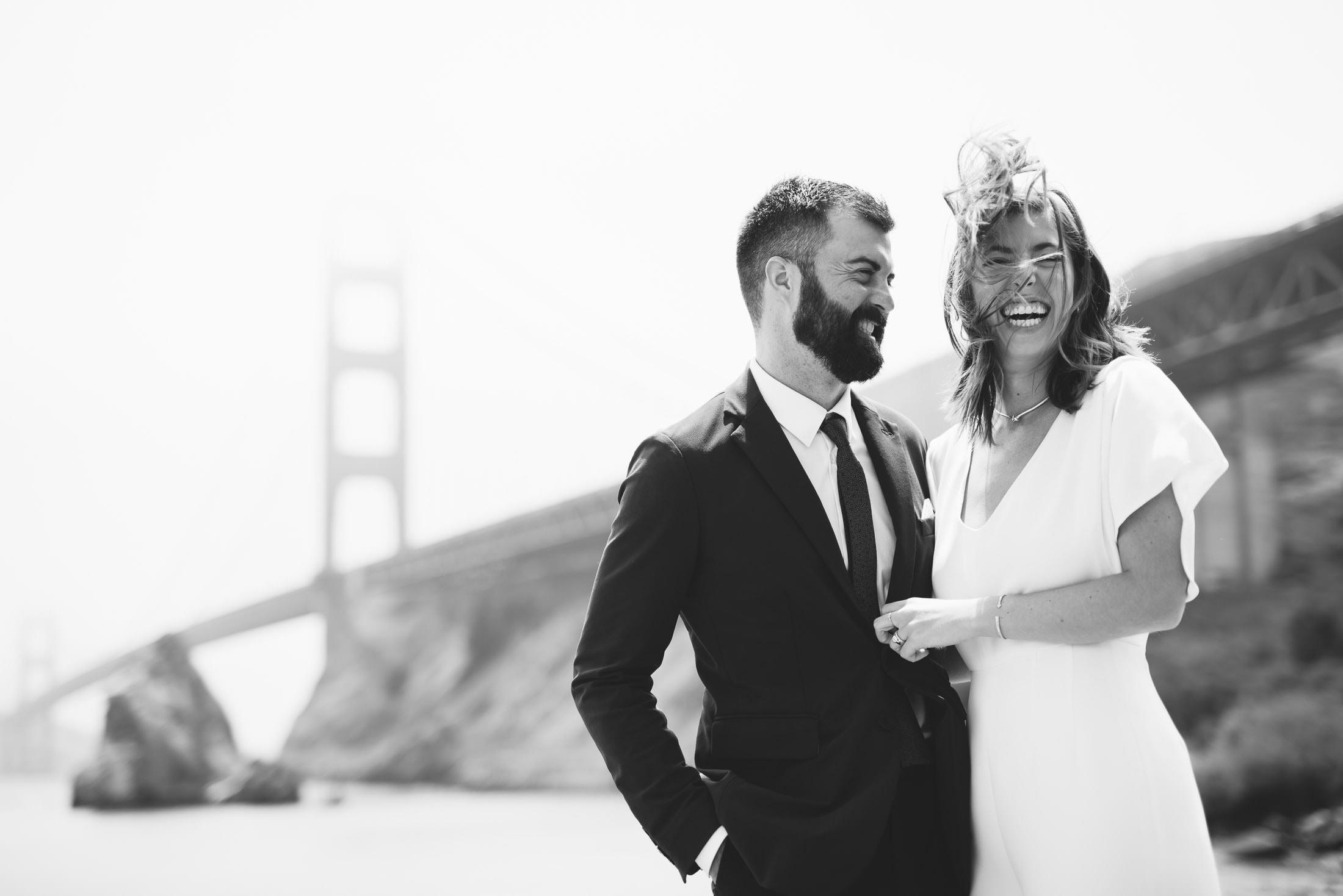Cavallo Point Golden Gate Bridge Wedding Portrait