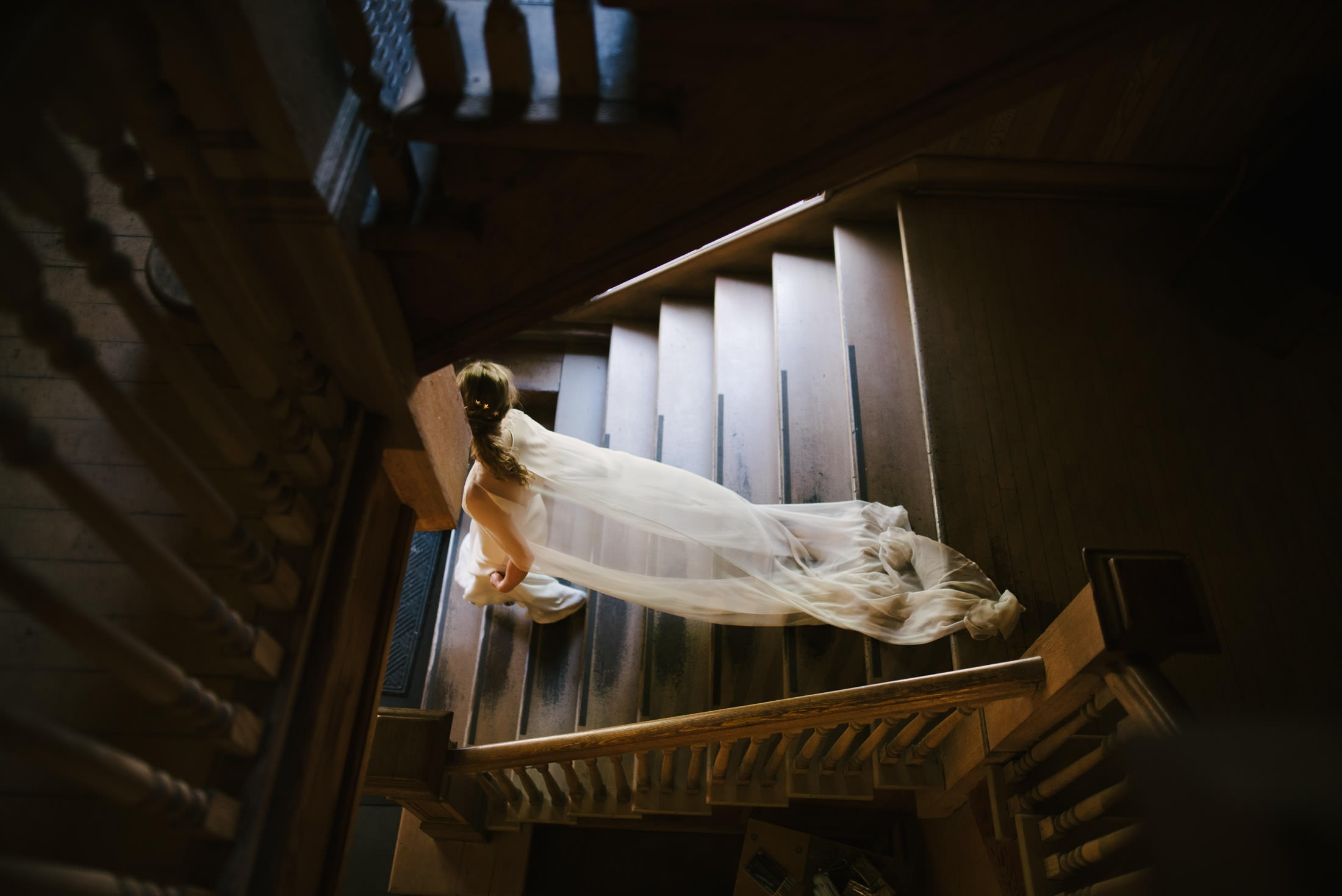 Headlands Center for the Arts Bride walking down Stairs
