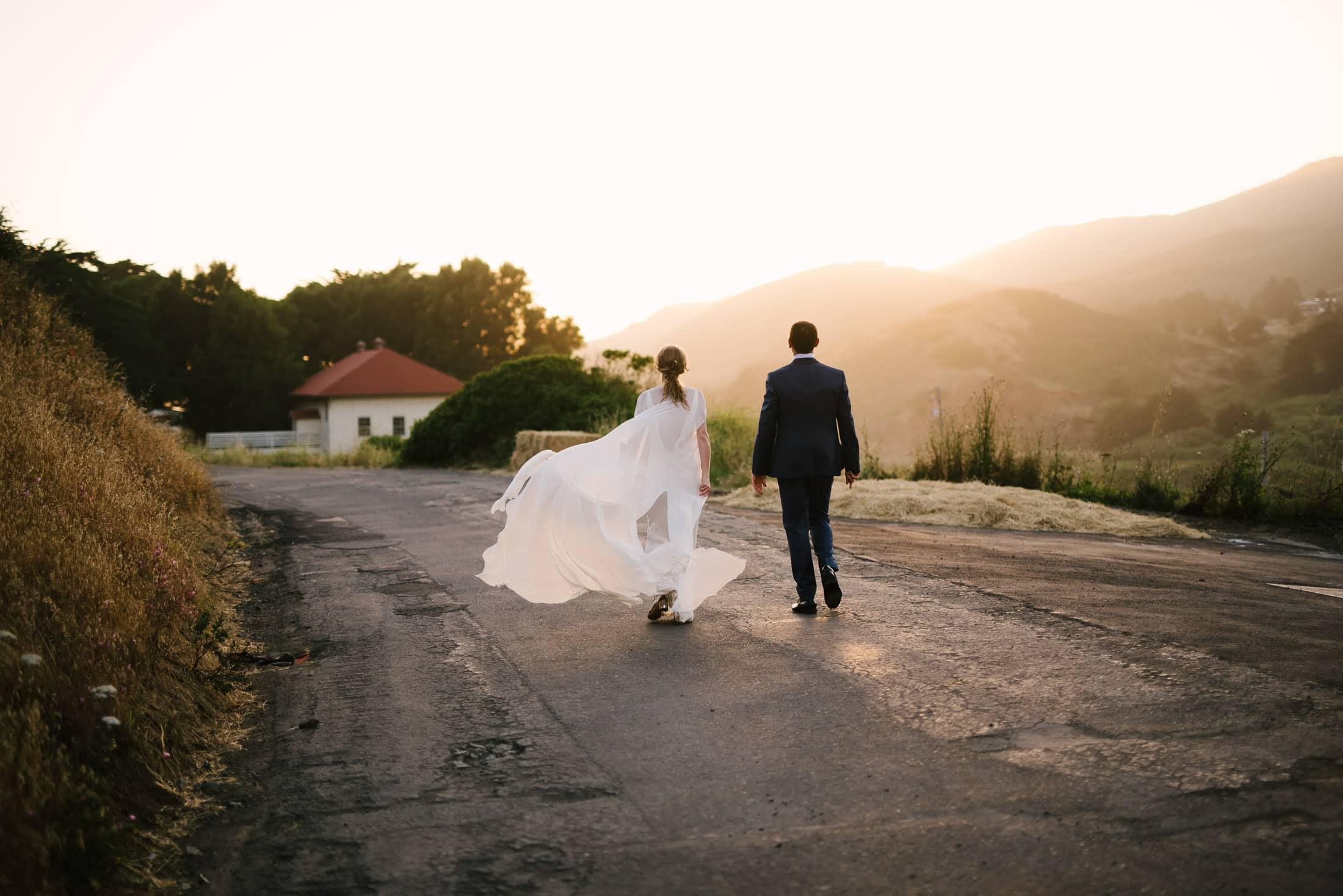Headlands Center for the Arts Sunset Wedding Portraits