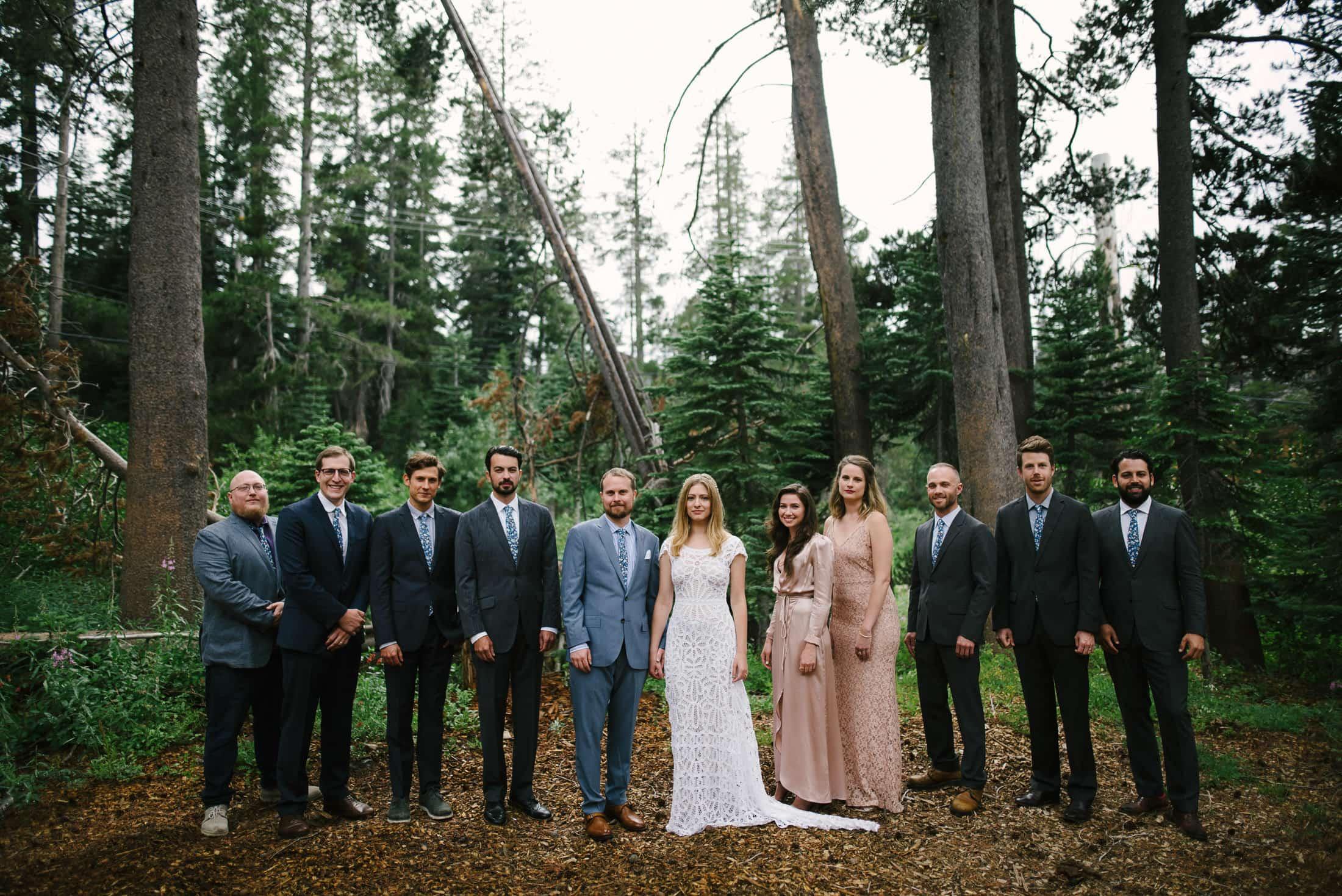 Sugar Bowl in Lake Tahoe Wedding Party Portrait