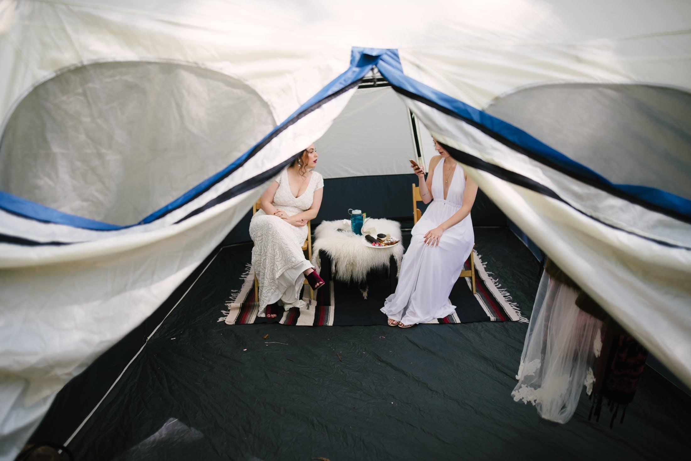 Bride in Tent at Robert's Regional Park wedding
