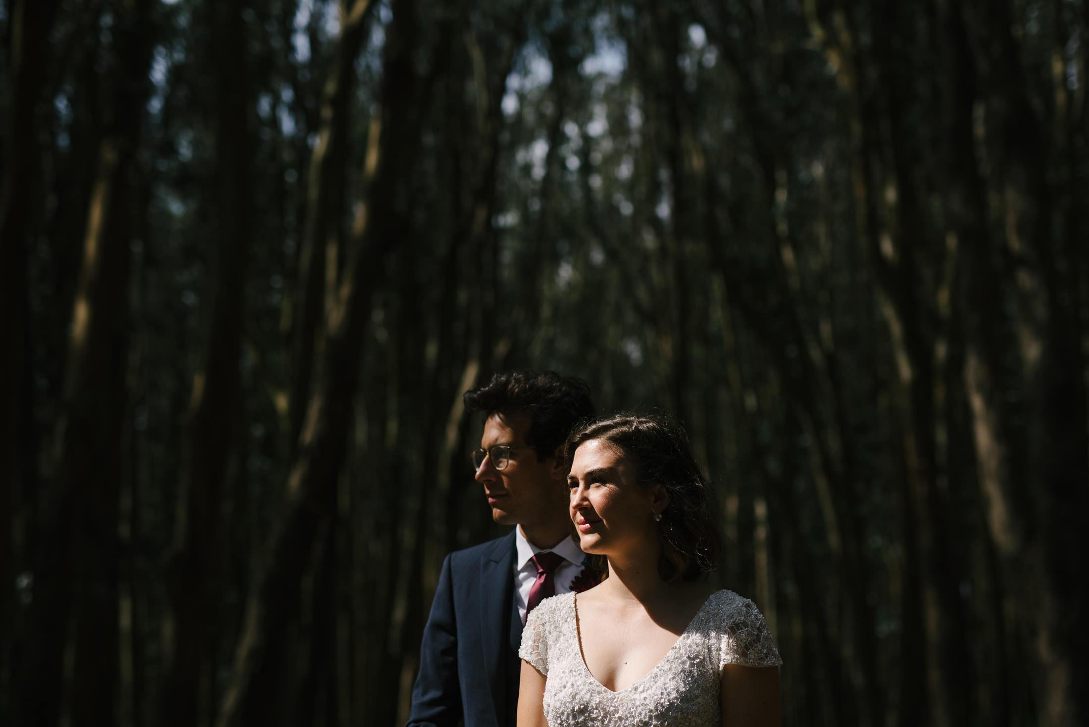 Wood Line Wedding Portrait