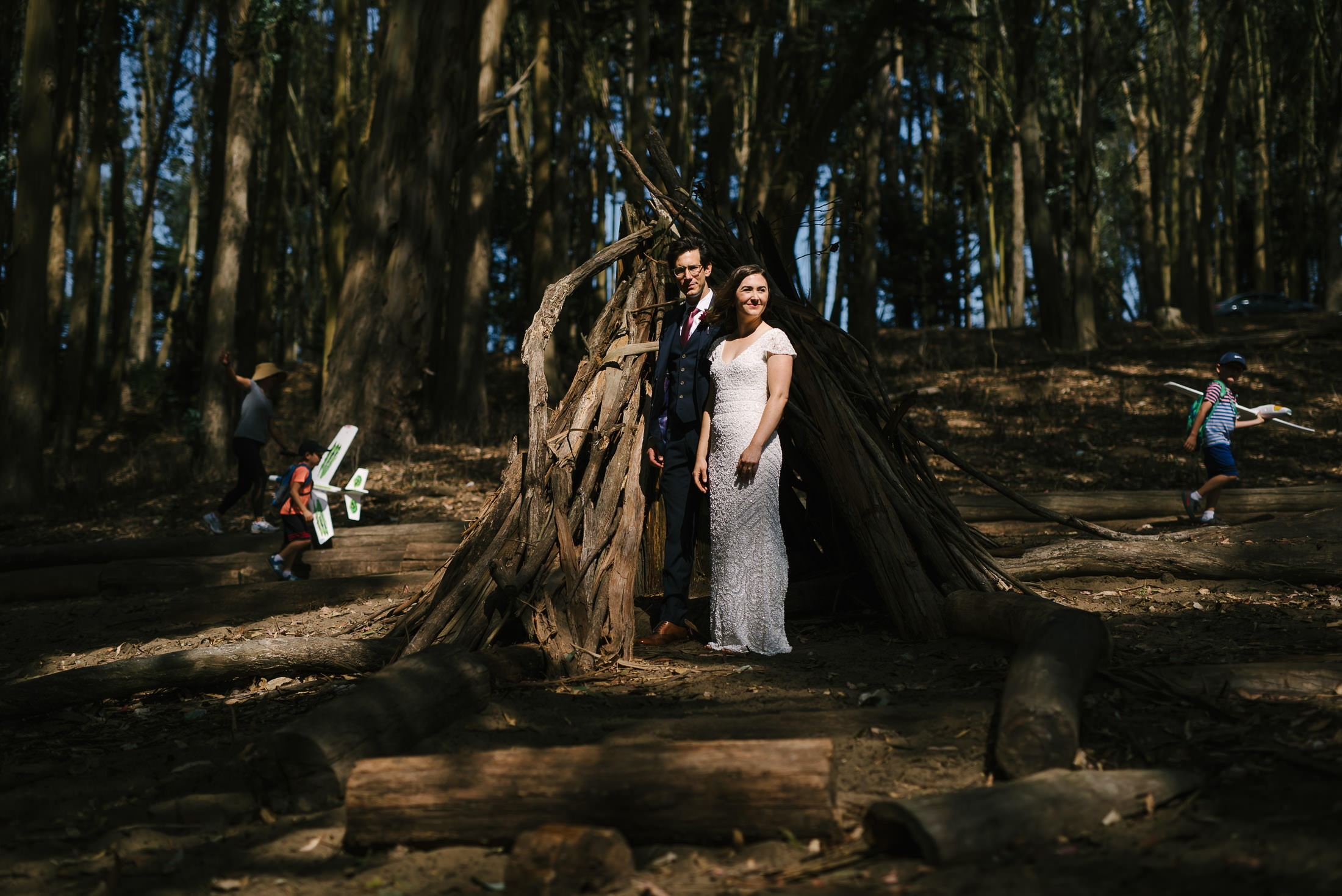 Presidio Wood Line Wedding Portraits