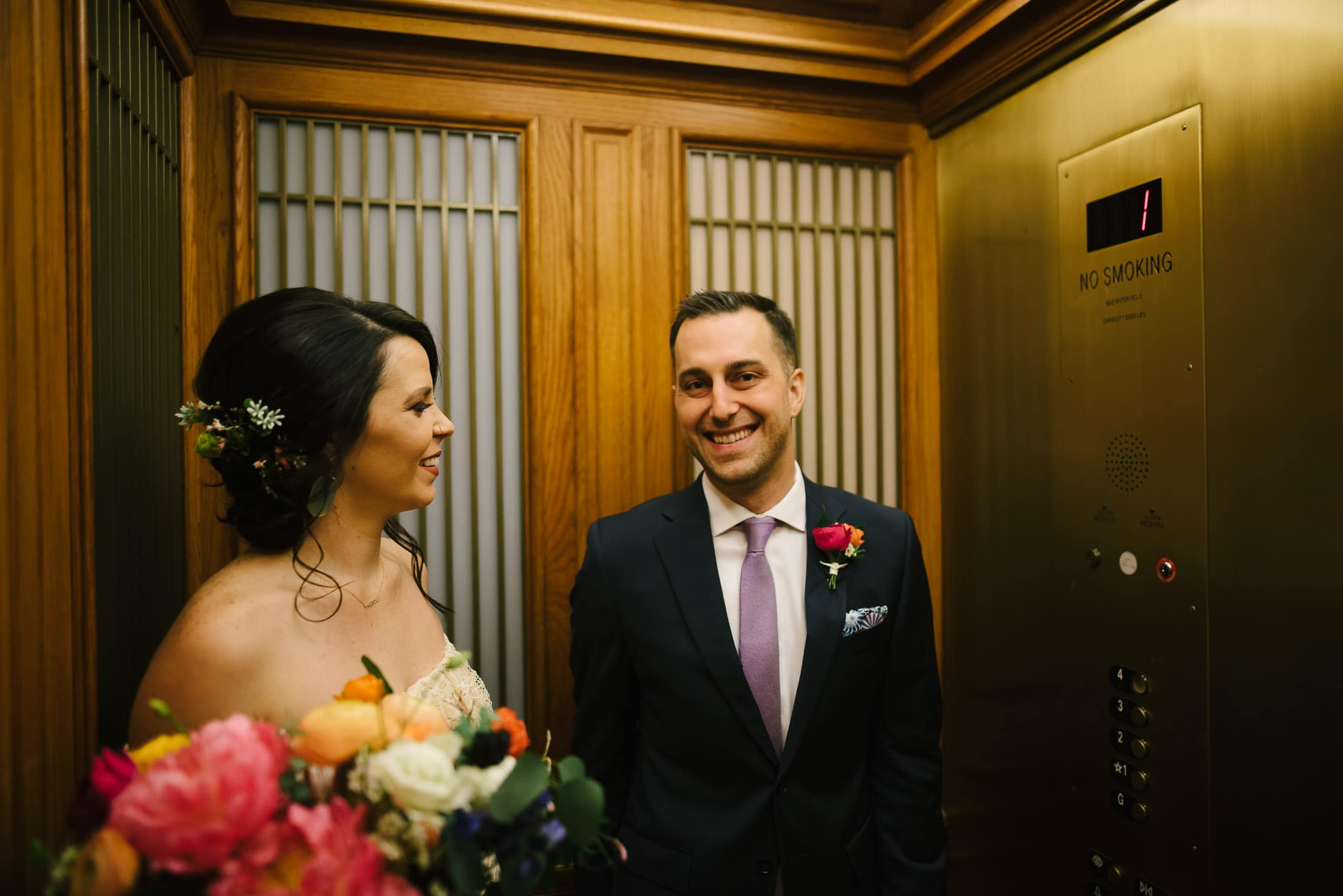 San Francisco City Hall Wedding Elevator