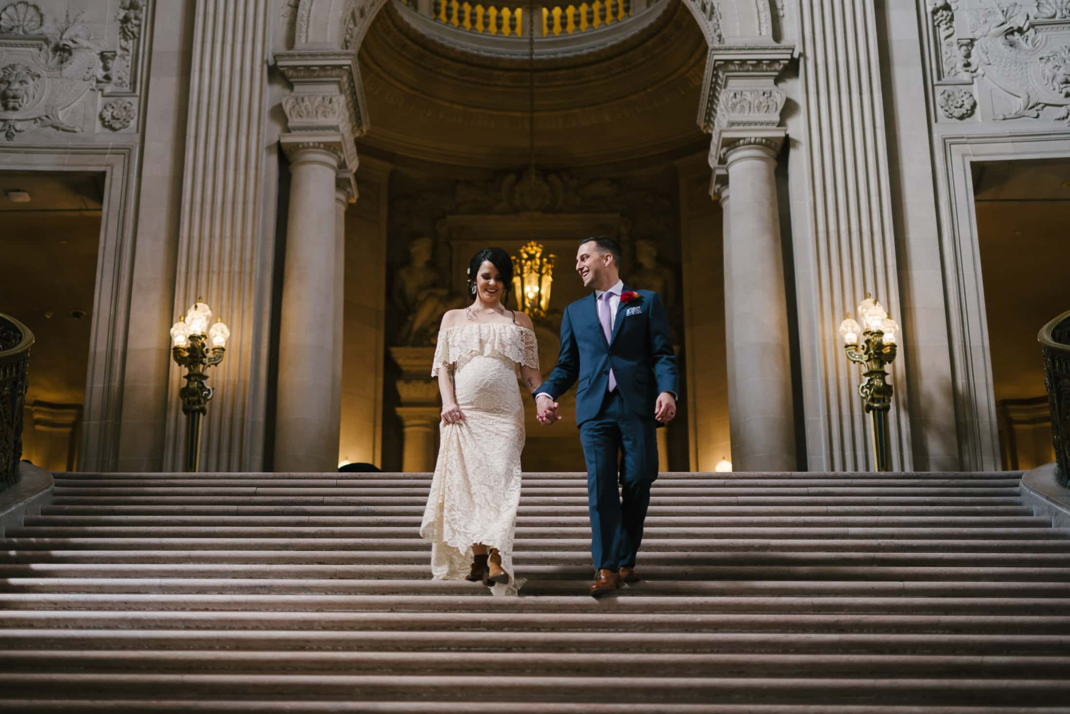 San Francisco City Hall Wedding Stairs