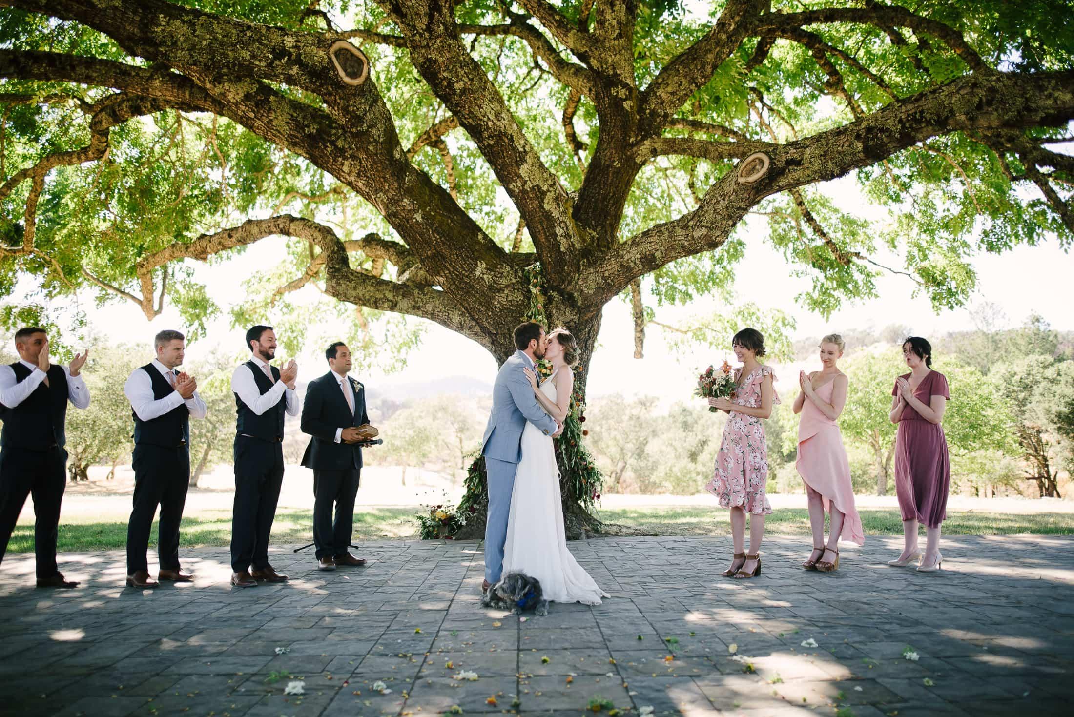 Kiss under the Walnut tree at Triple S Ranch