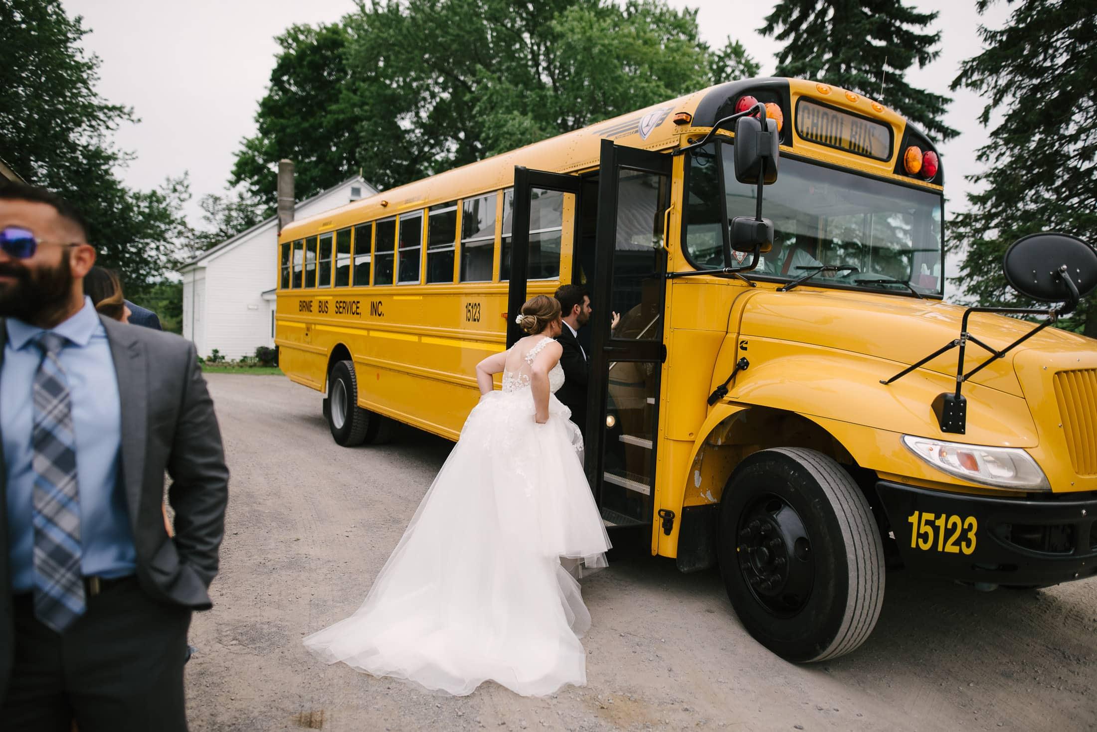 New York Dairy Farm Wedding School Bus