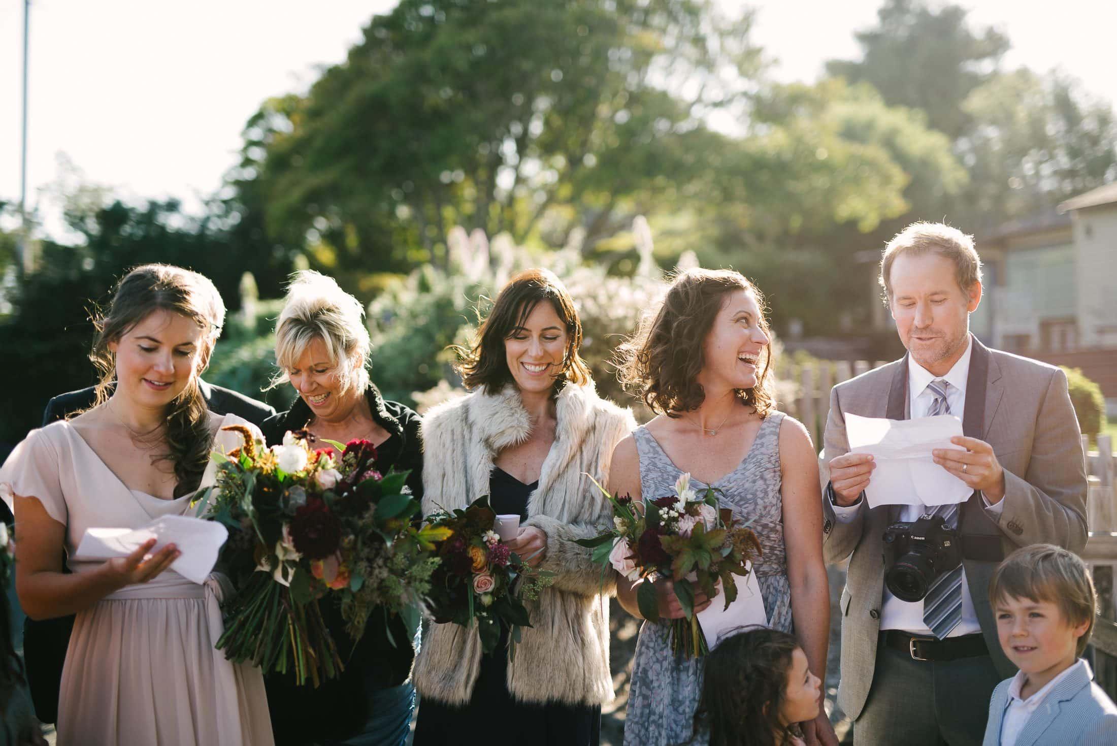 Guests reading at Bolinas wedding