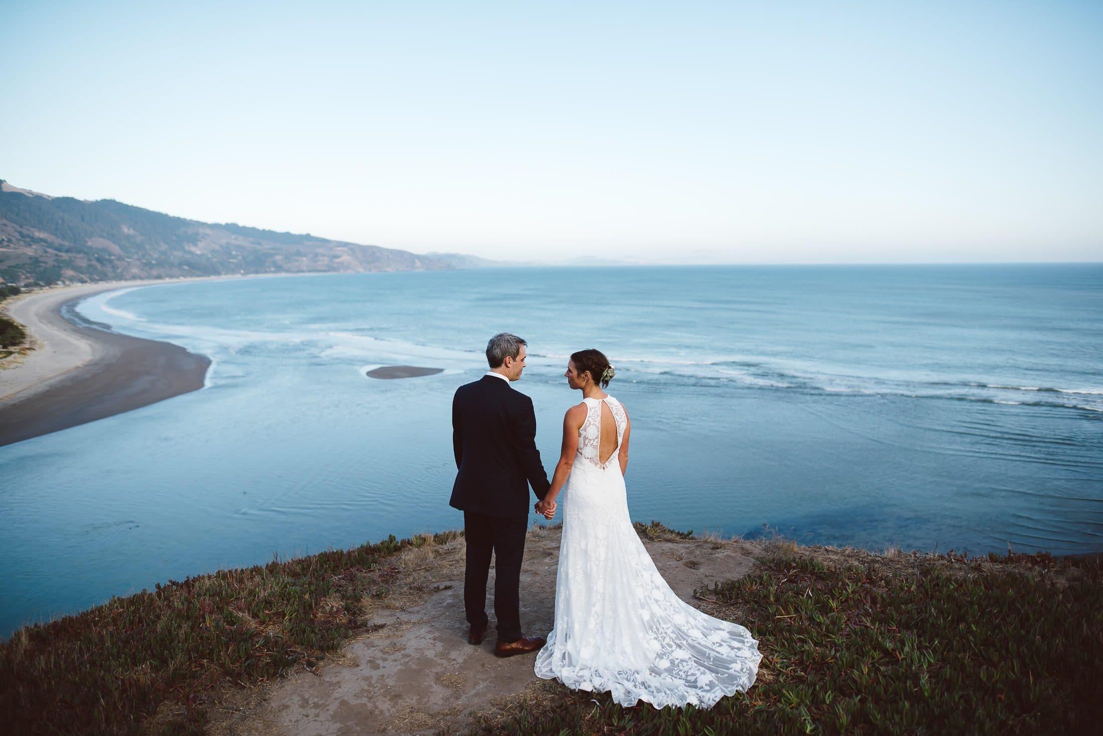 Bolinas wedding portrait overlooking the ocean
