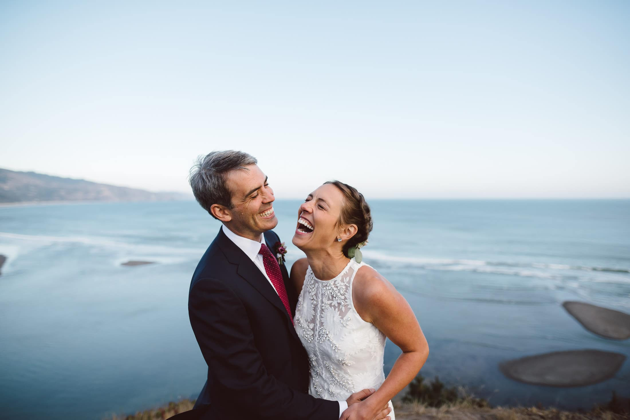 Bolinas wedding portrait overlooking the ocean
