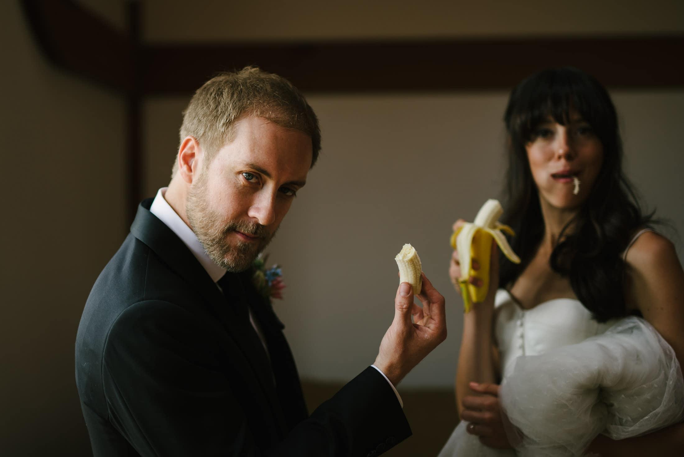 fun goofy picture of bolinas wedding couple