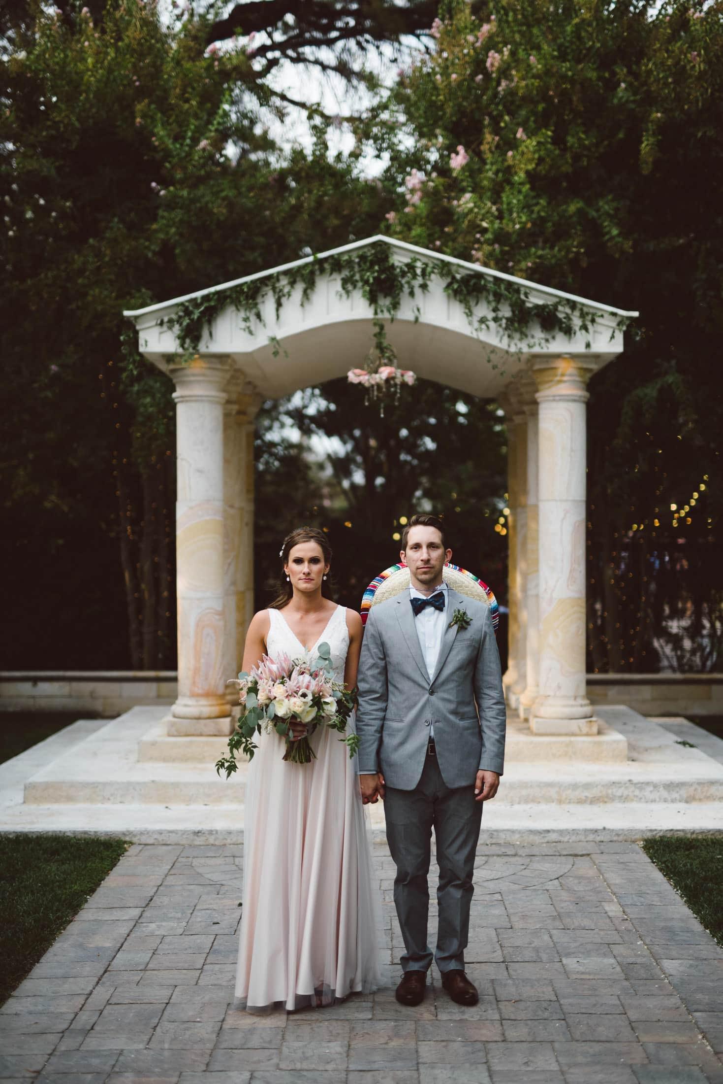 fun brownstone gardens wedding portrait