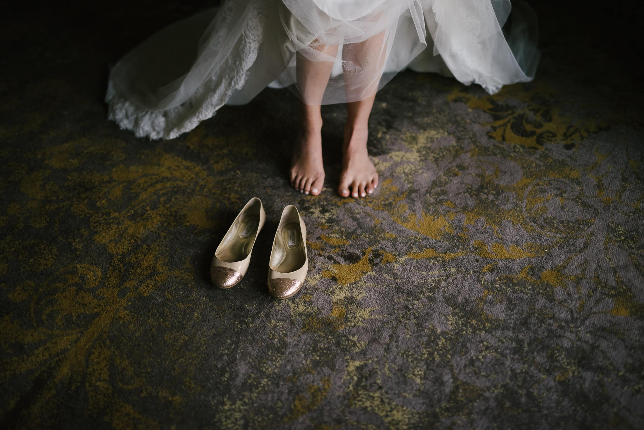 Feet and comfortable wedding shoes
