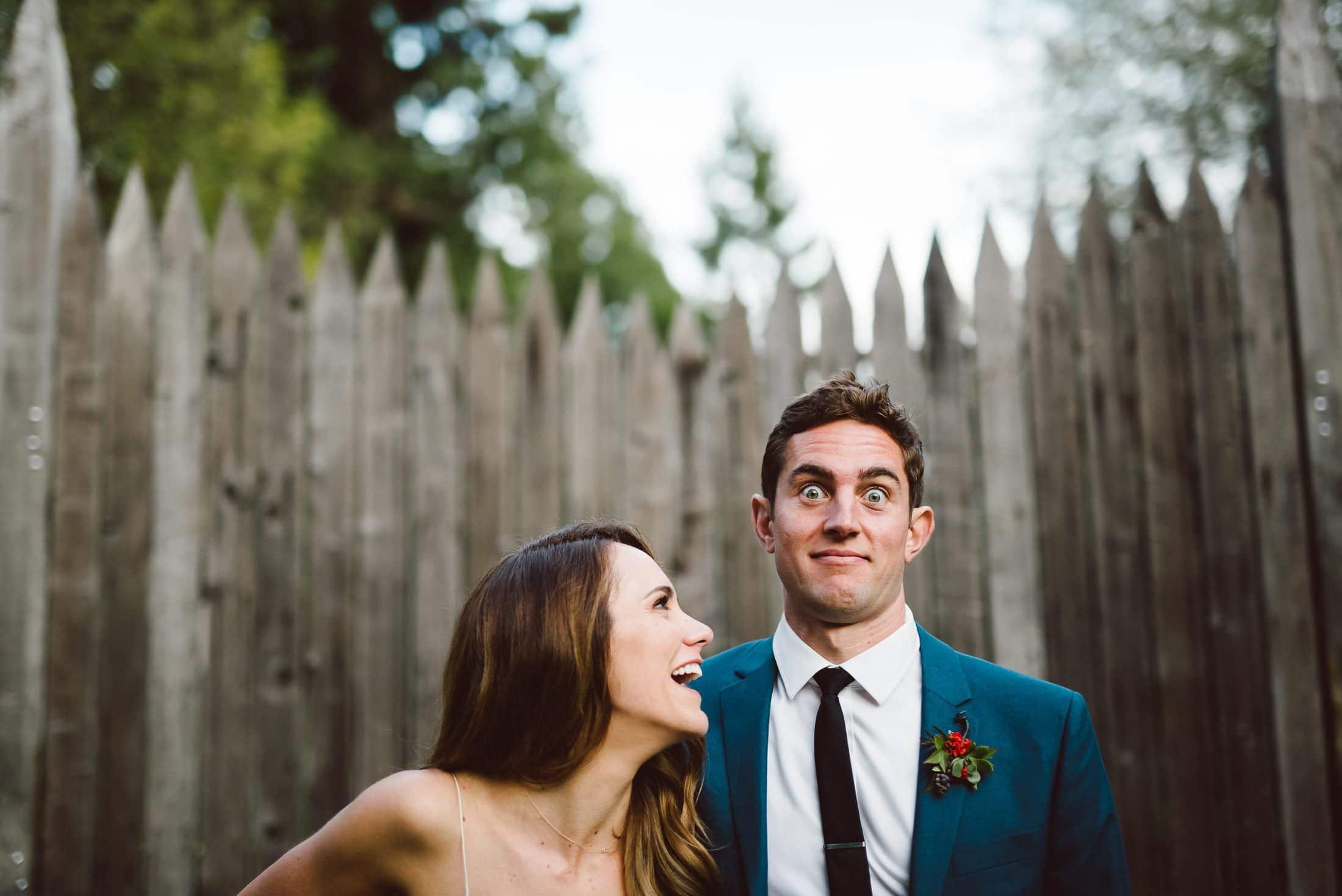 Goofy image of wedding couple at Dawn Ranch