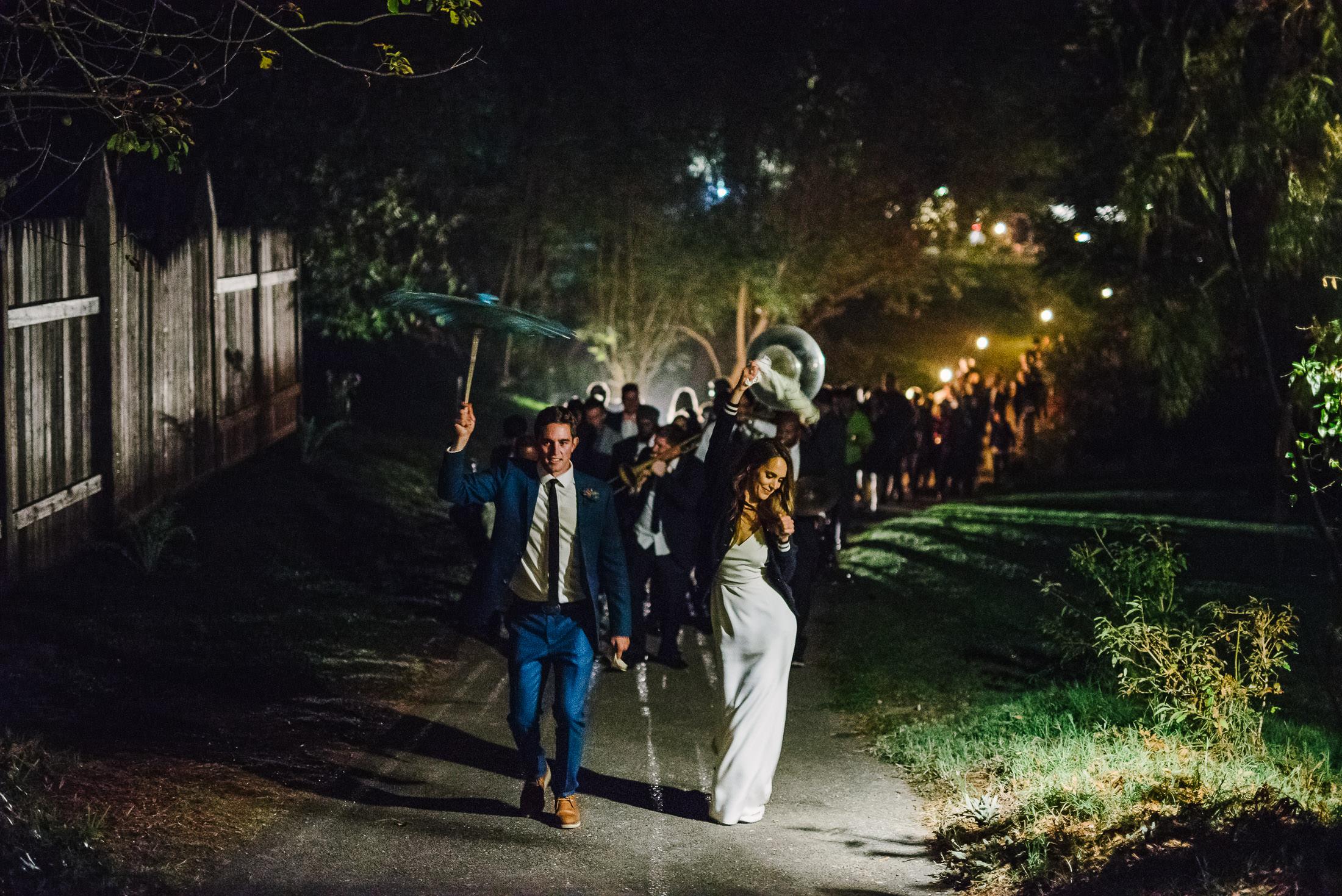 Dawn ranch wedding reception parade