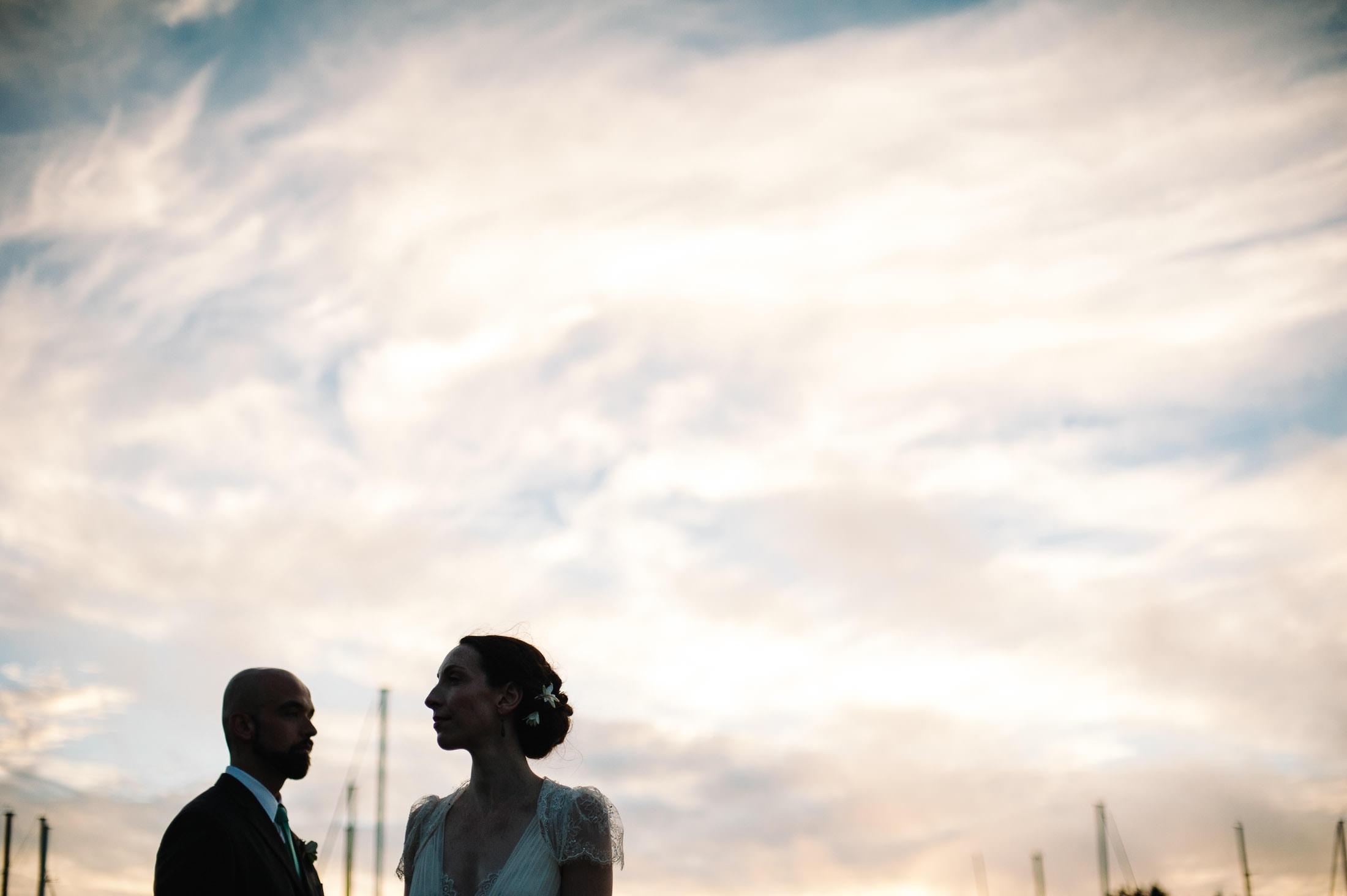 artistic greens wedding couple