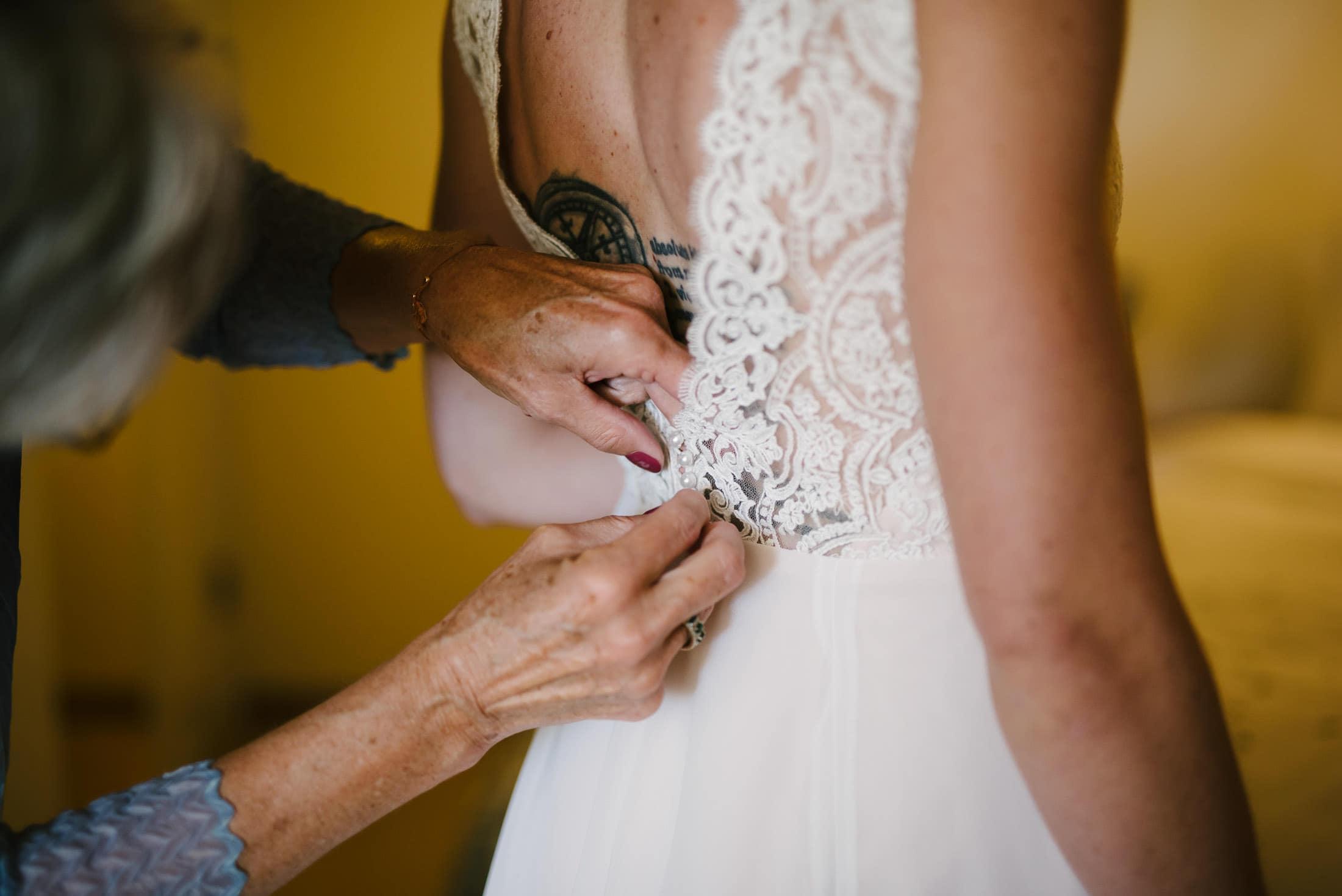 Tattoos on Bride's Back