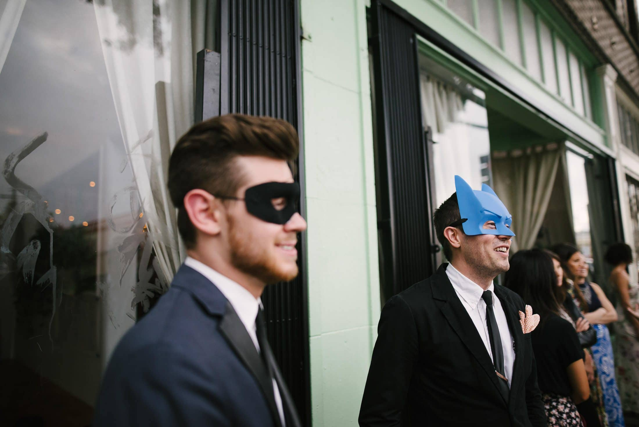 Masked guests at LA Wedding Reception