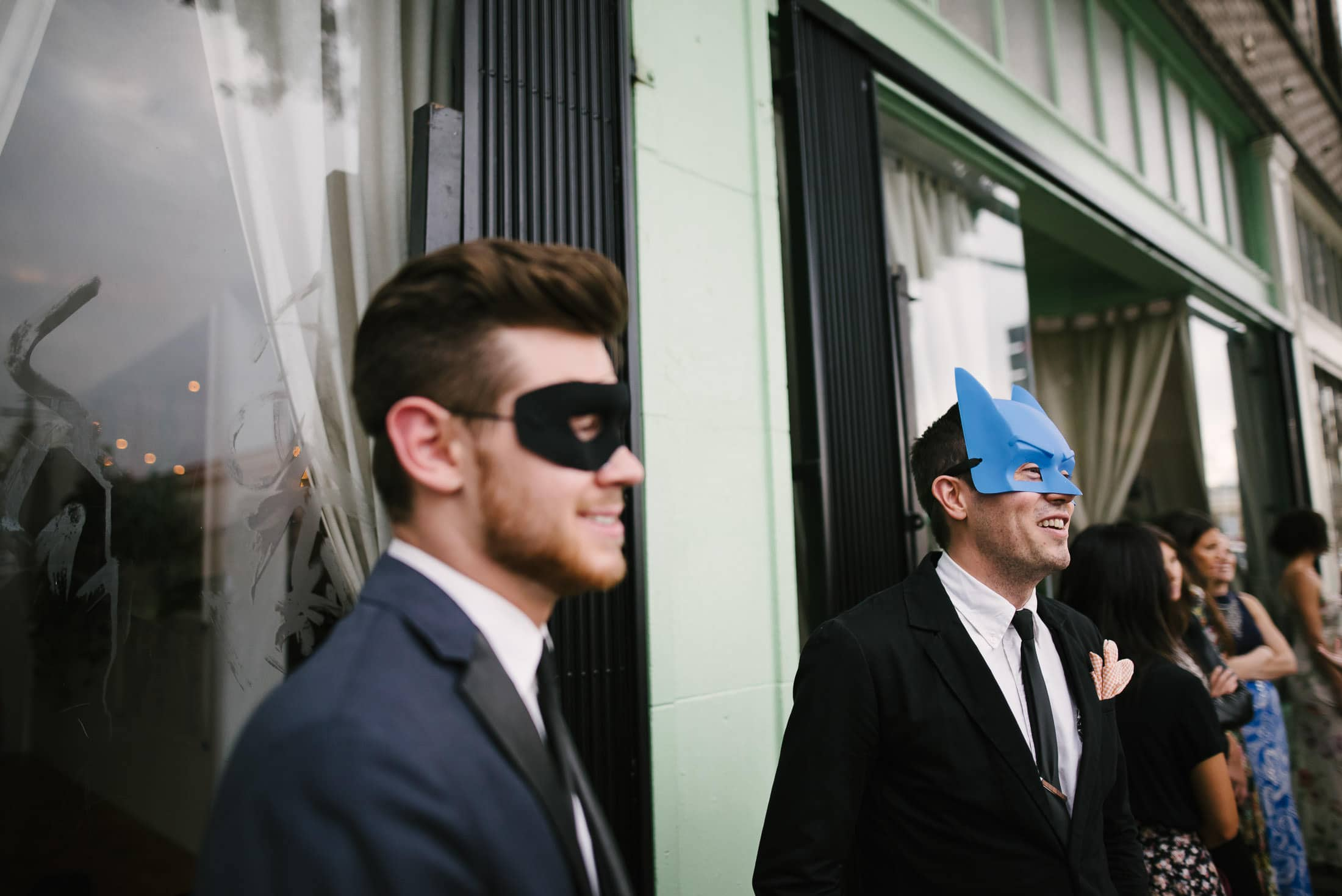 Masked guests at LA Wedding Reception