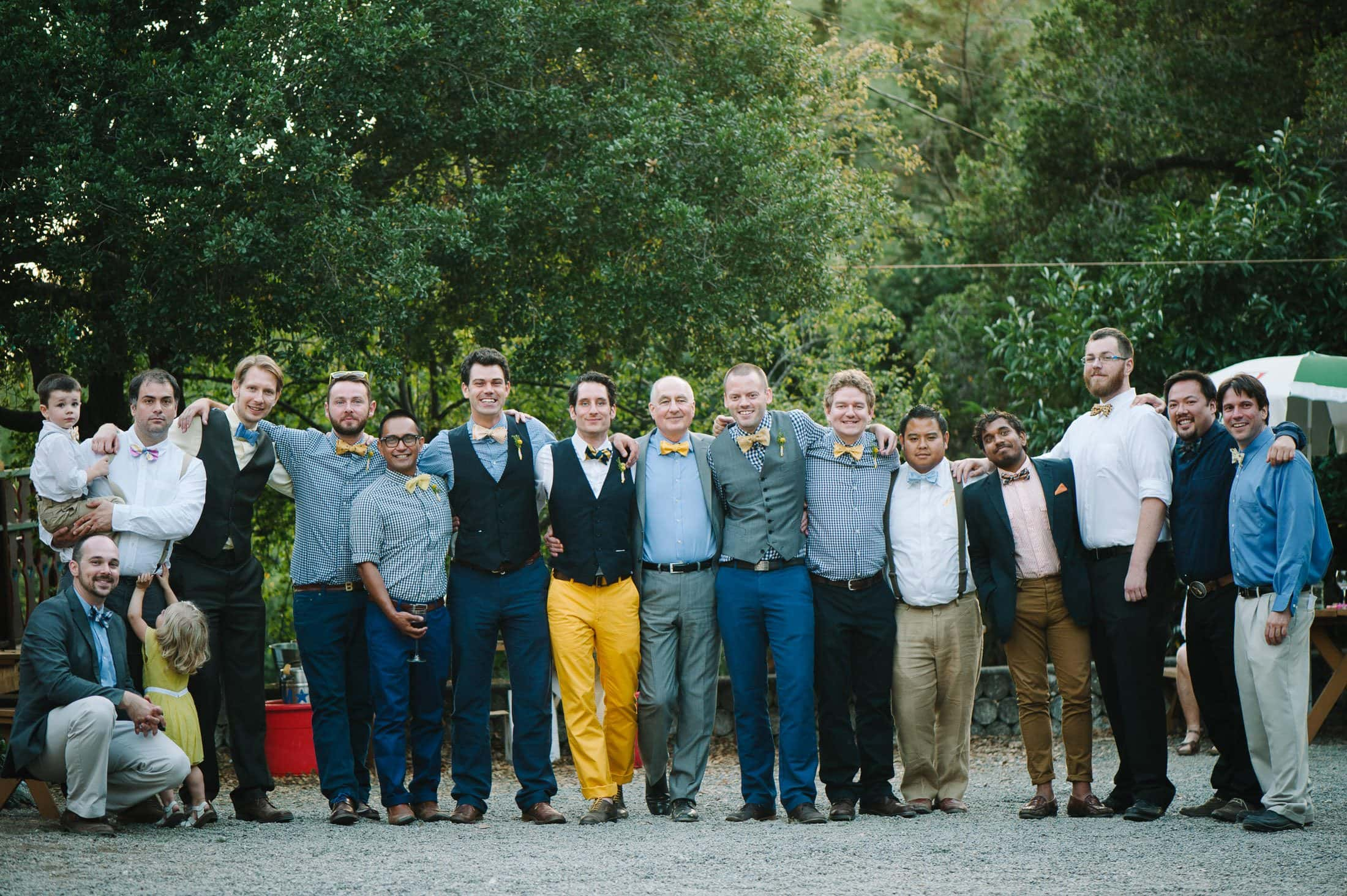 fun groom's men at wedding at oakland nature friends
