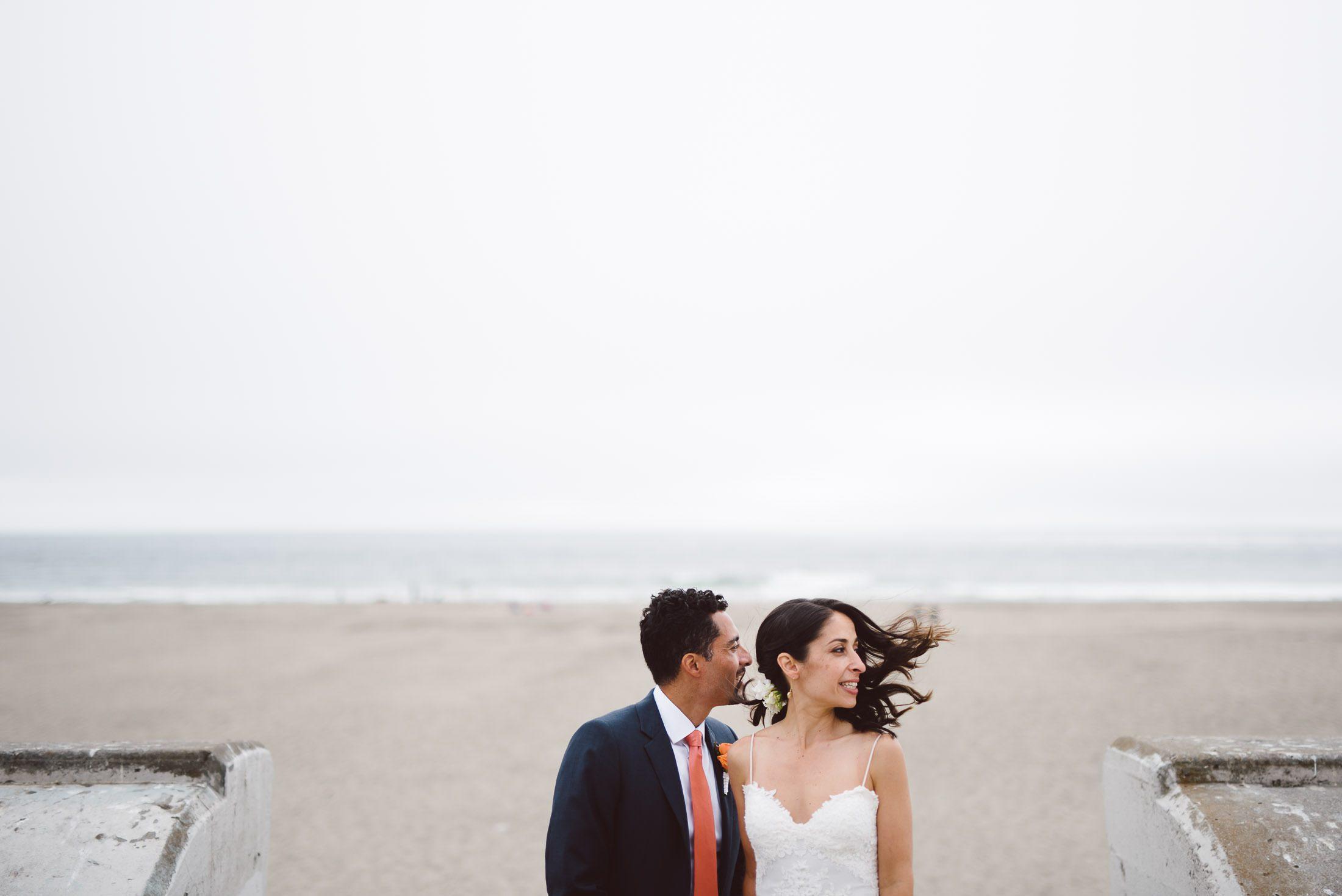 Couple at Ocean Beach wedding