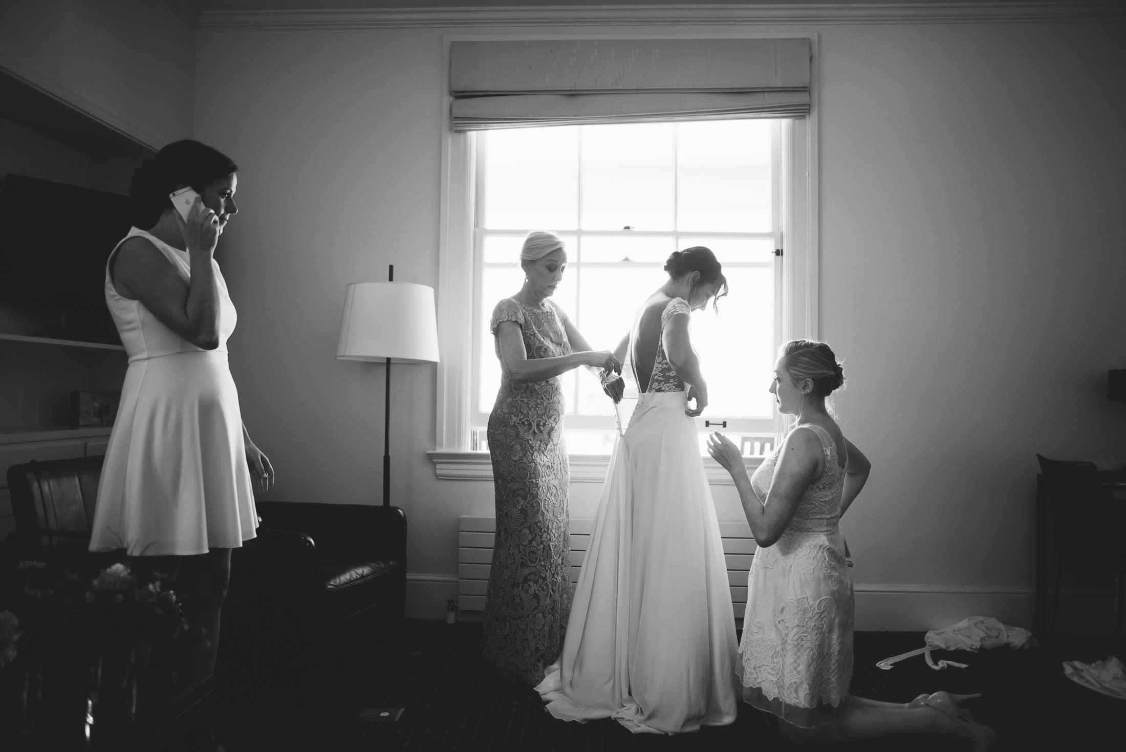 Presidio Inn getting ready pic of bride