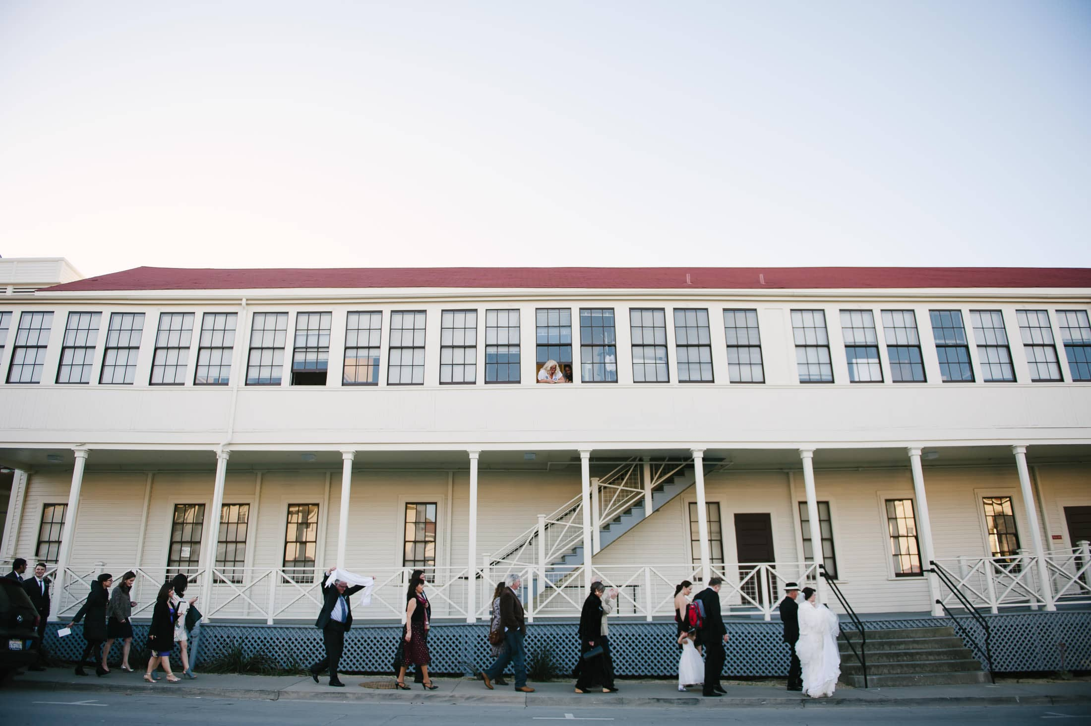 Parading Wedding Party in the San Francisco Presidio