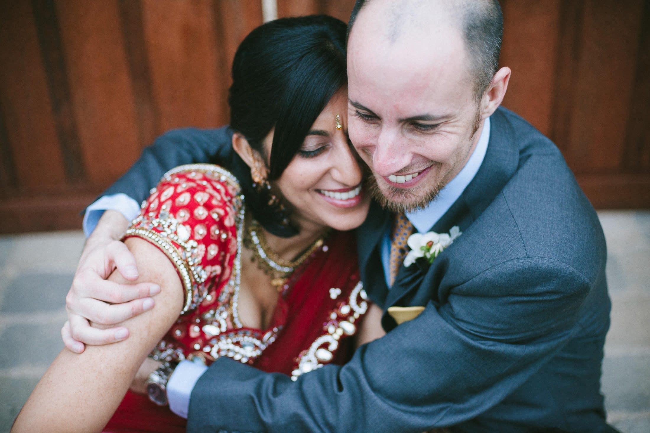 Fun couple with bride in Indian garb at Ramekins Wedding