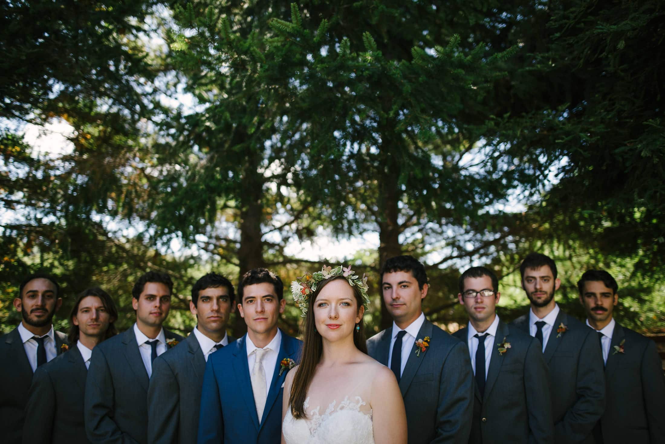 epic wedding party portrait at rancho nicasio in marin