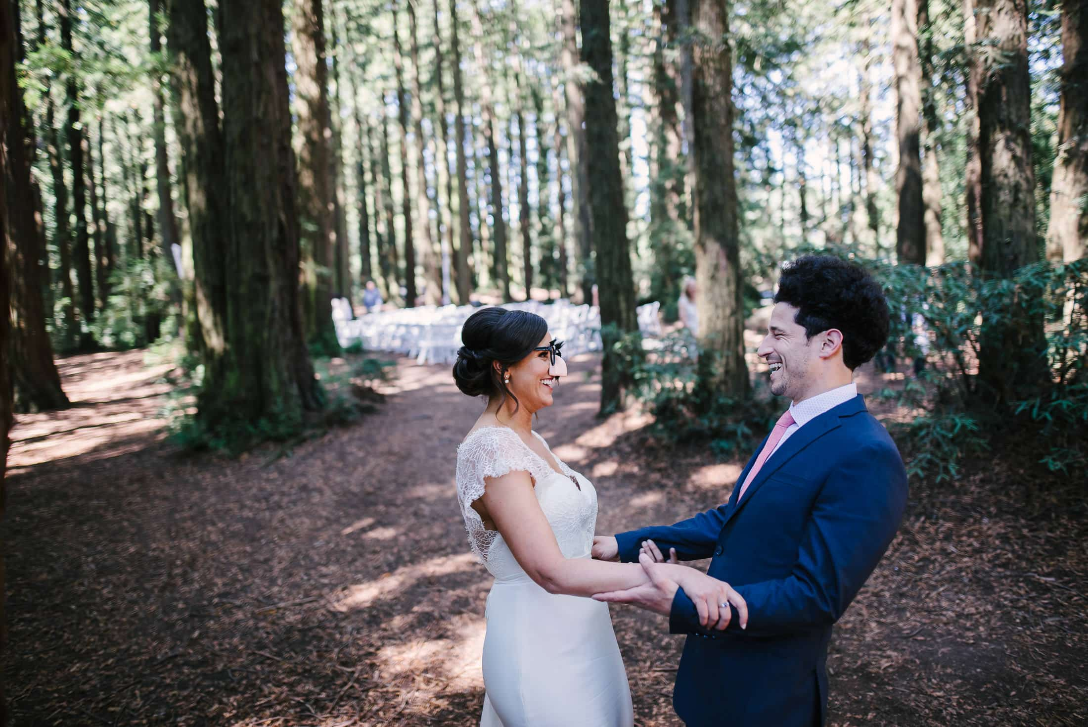 Super fun first look at Robert's Regional Park Wedding