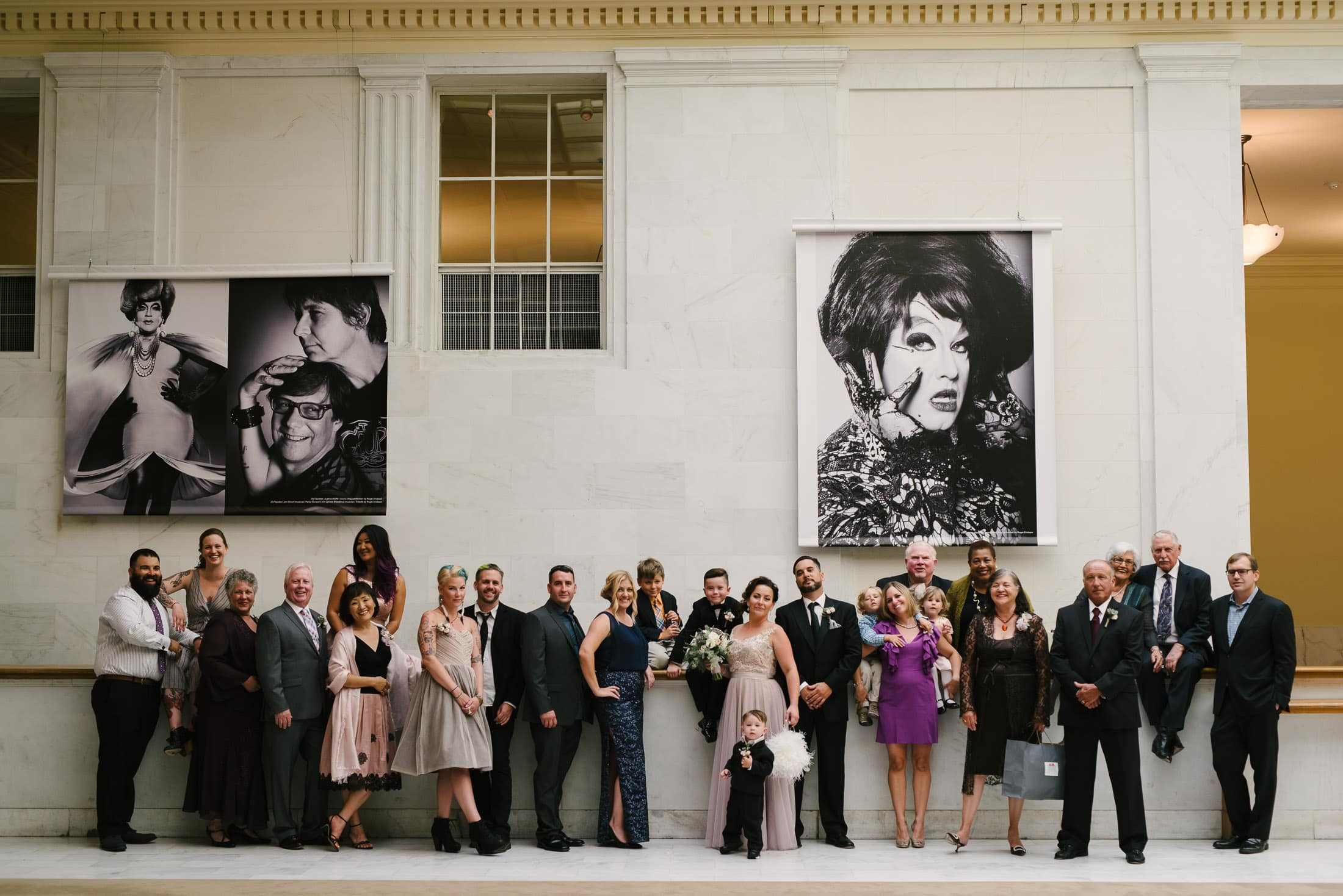 wedding attendants group portrait at san francisco city hall
