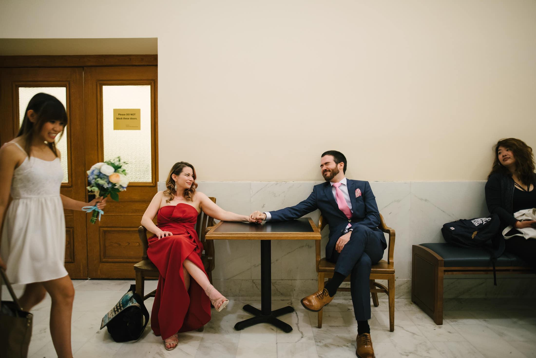 San Francisco City Hall Wedding waiting area