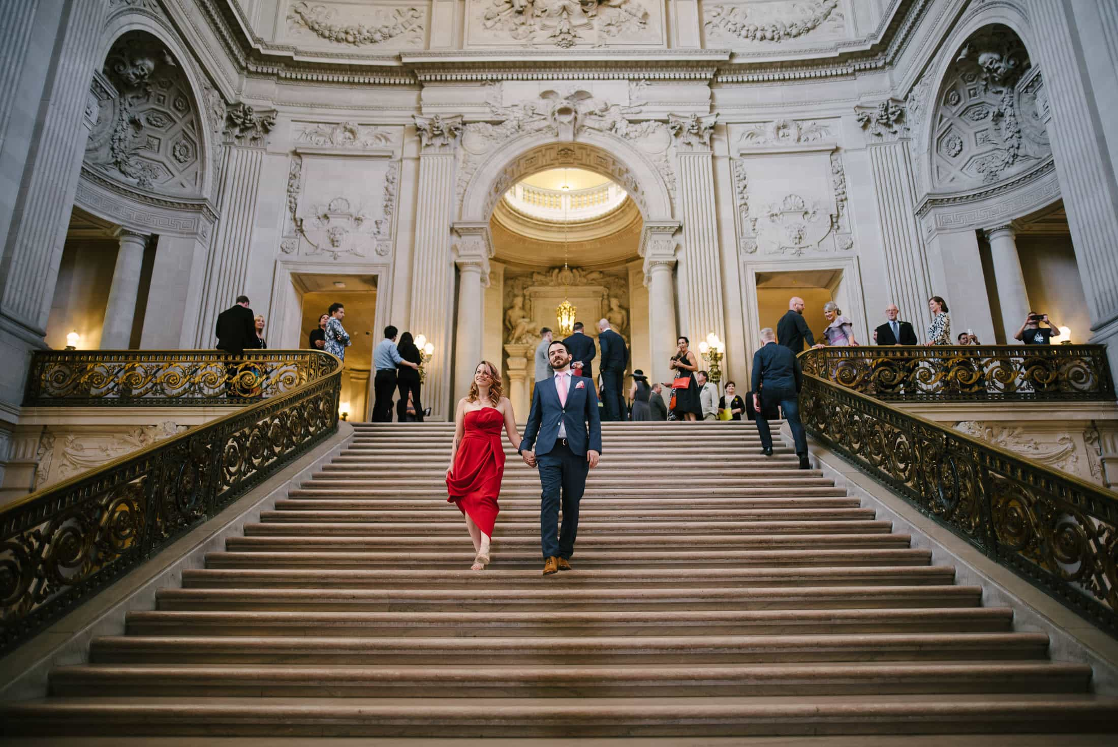 San Francisco City Hall Wedding grand staircase