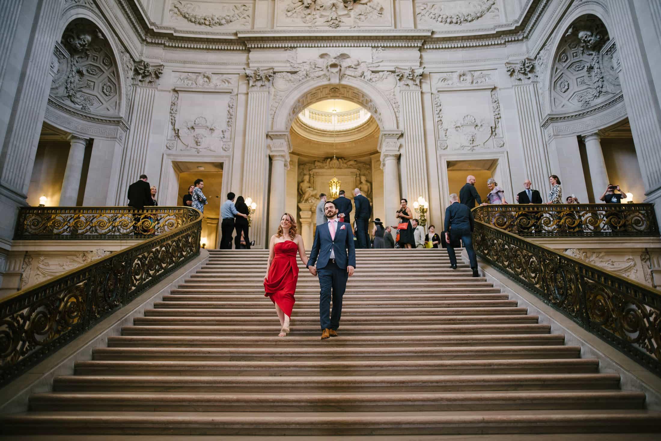 San Francisco City Hall Wedding grand staircase