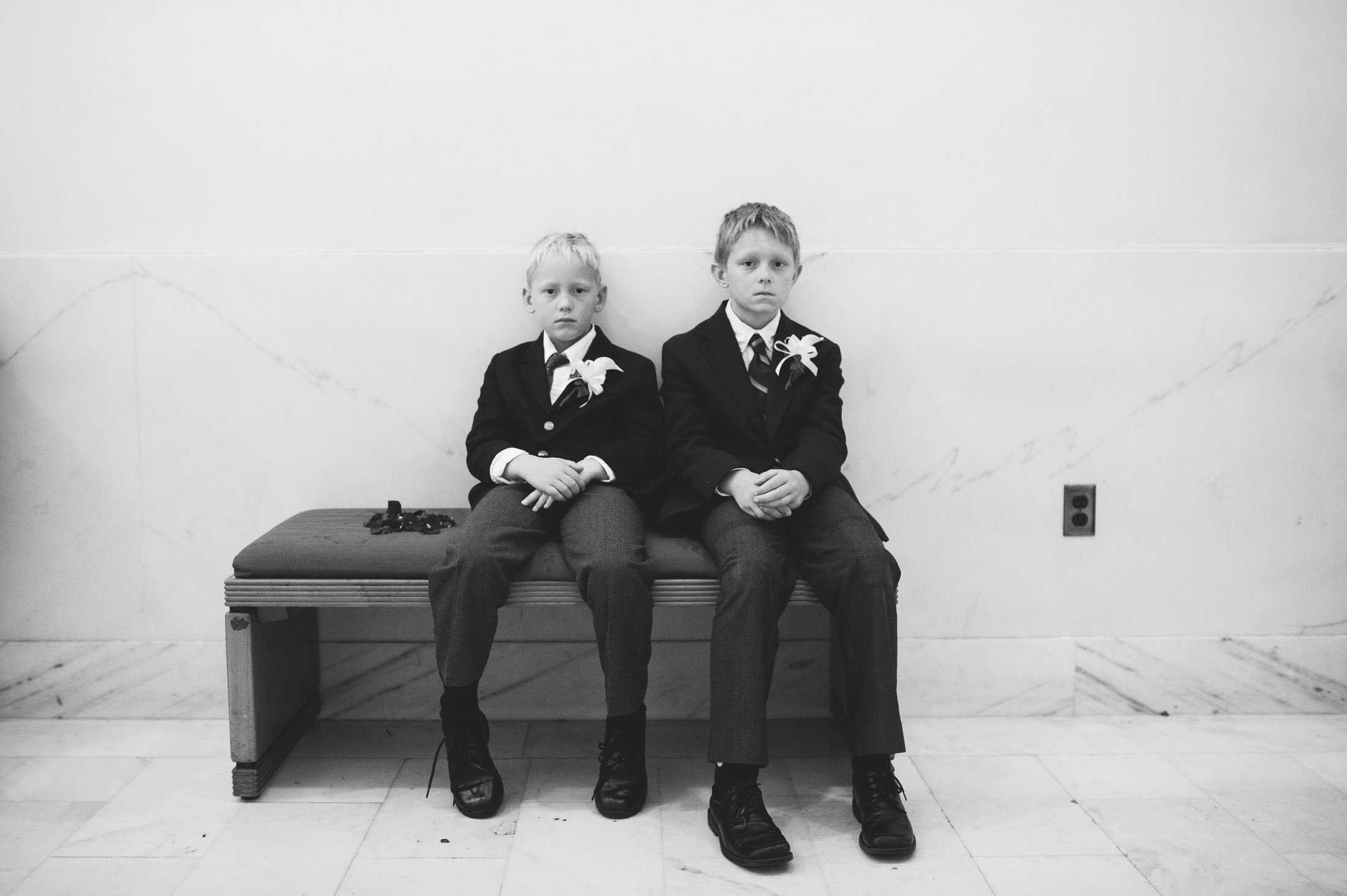 Fun shot of serious kids at San Francisco City Hall Wedding
