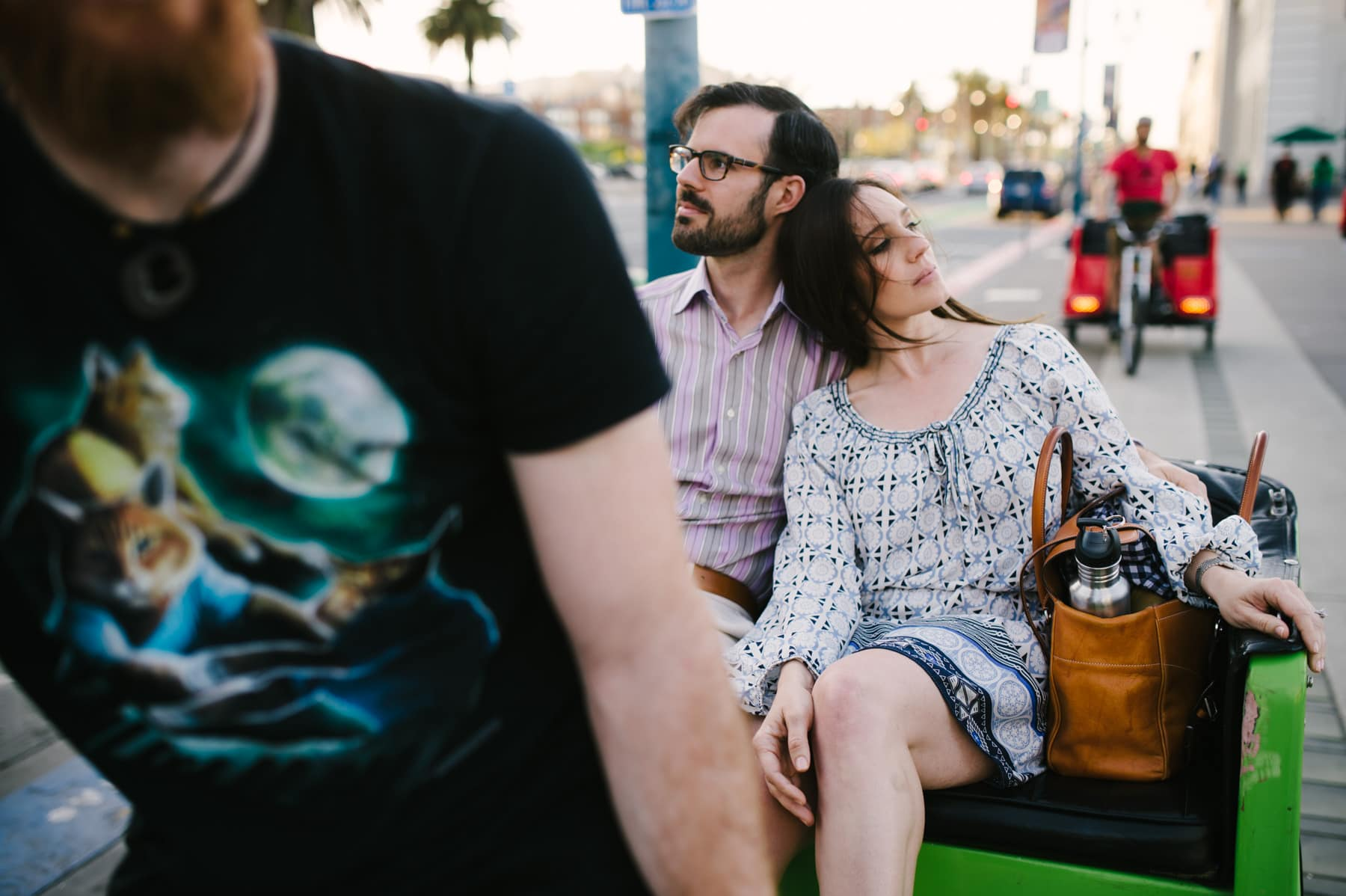 crazy cat shirt at ferry building engagement session