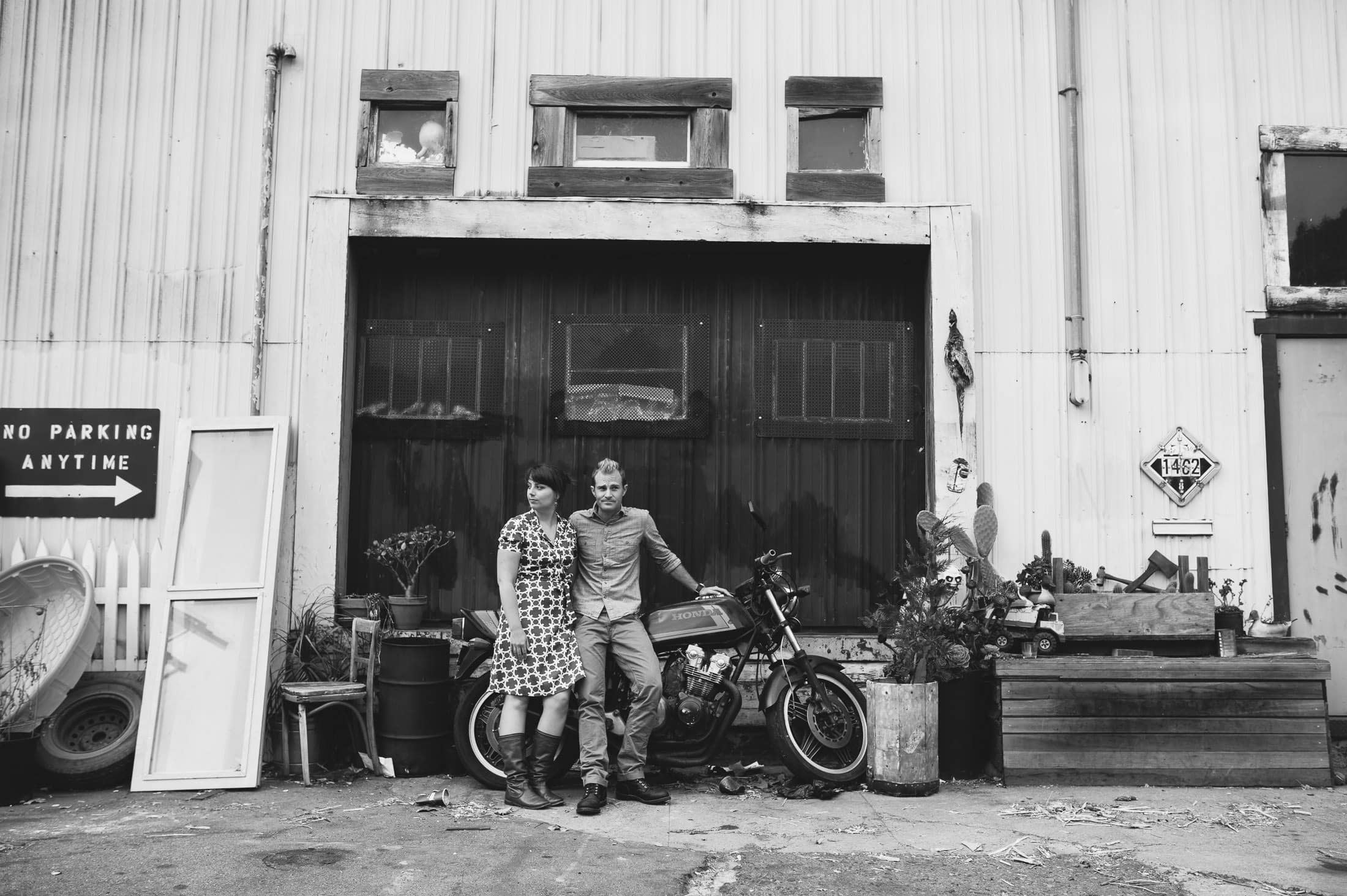 Artistic San Francisco Engagement with Motorcycle in Black and White