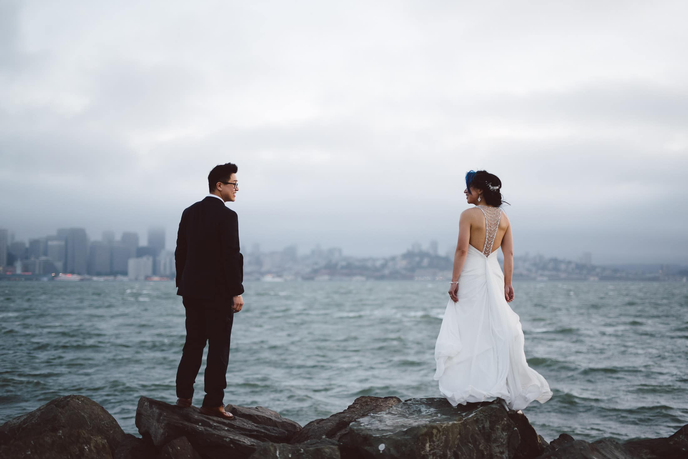 Wedding couple on treasure island