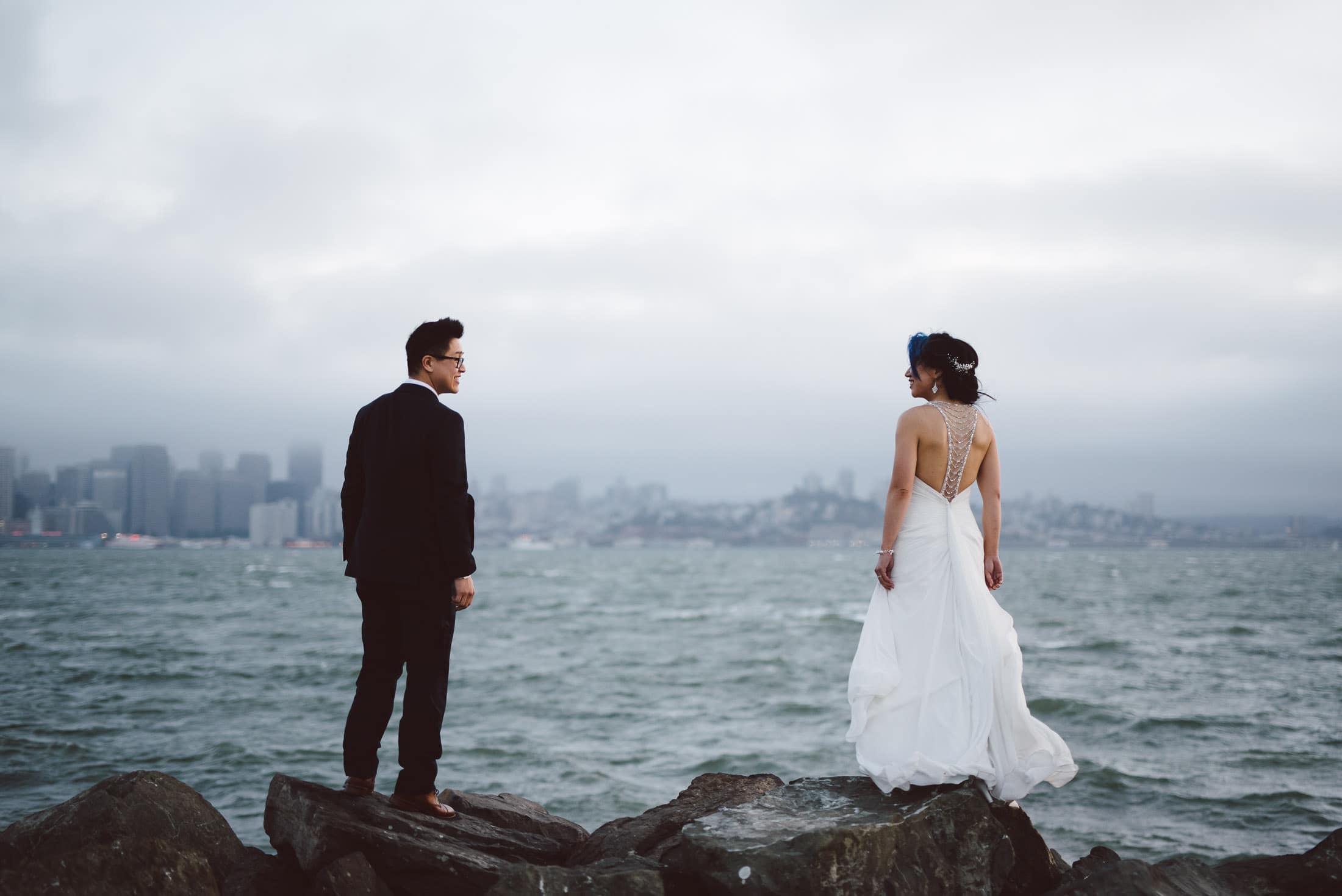 Wedding couple on treasure island