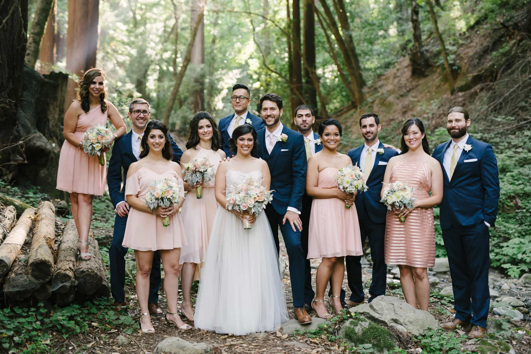 Saratoga Springs Picnic area wedding party portrait in forest