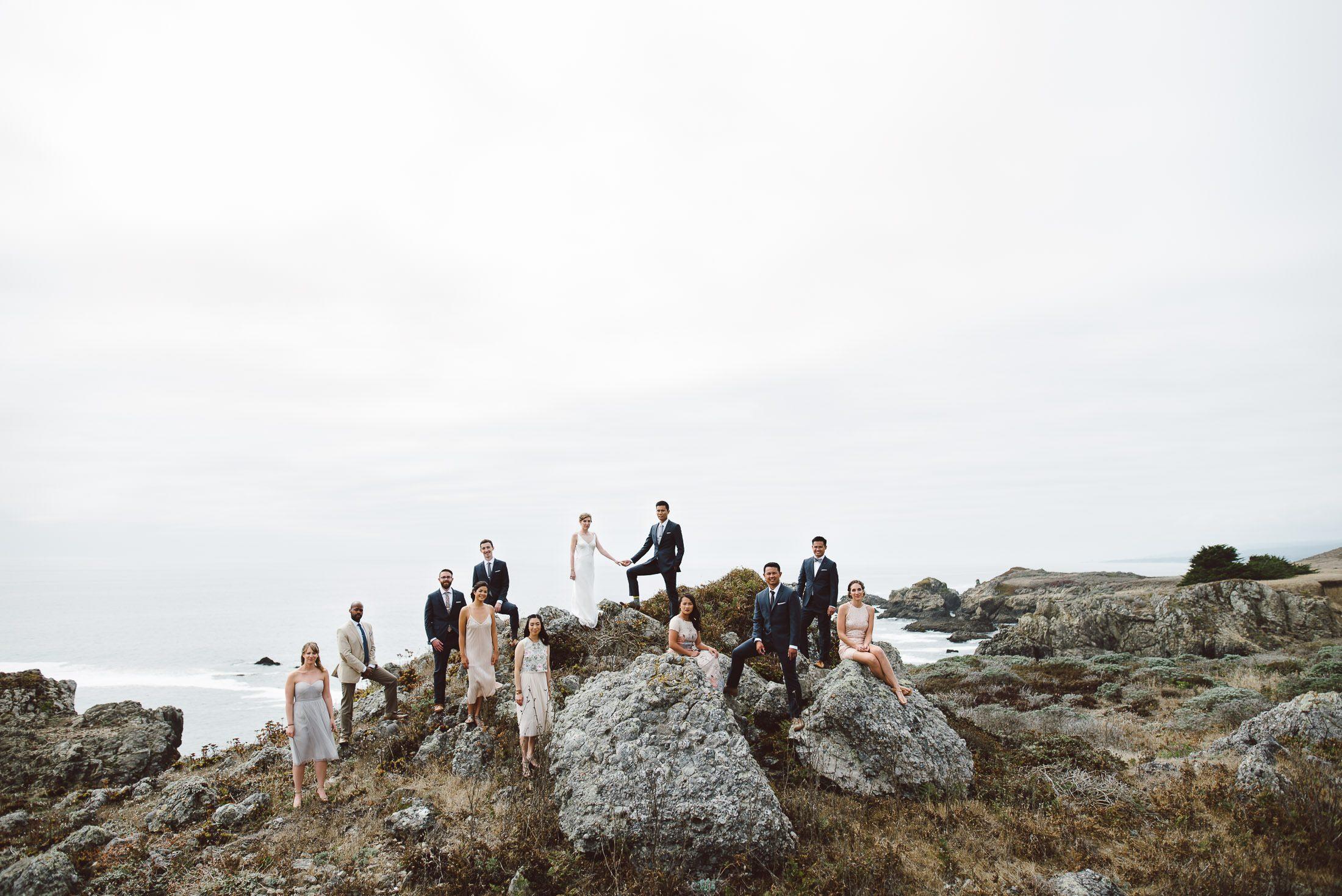 Epic Wedding Party Portrait at Sea Ranch Wedding