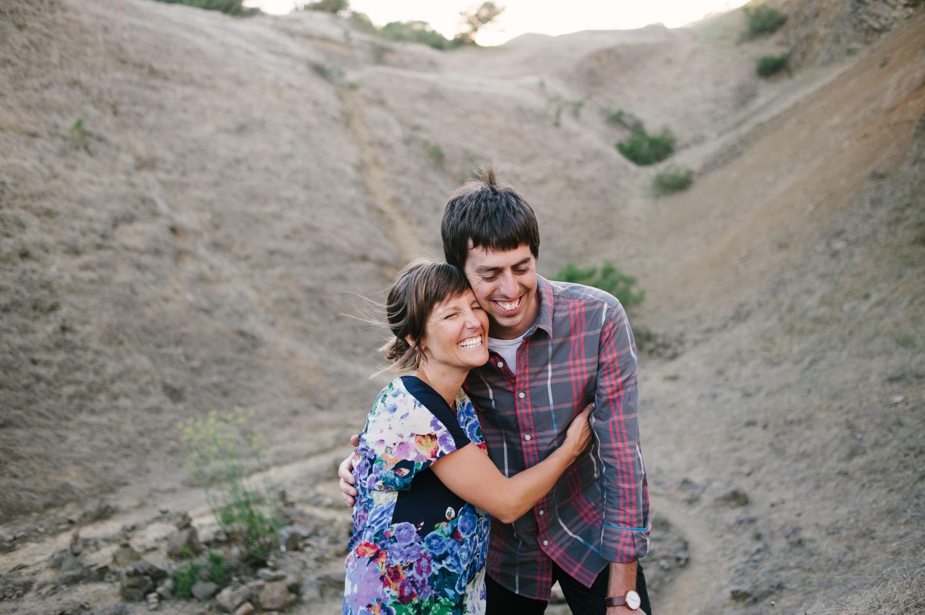 Couple hugging at Sibley Park Engagement