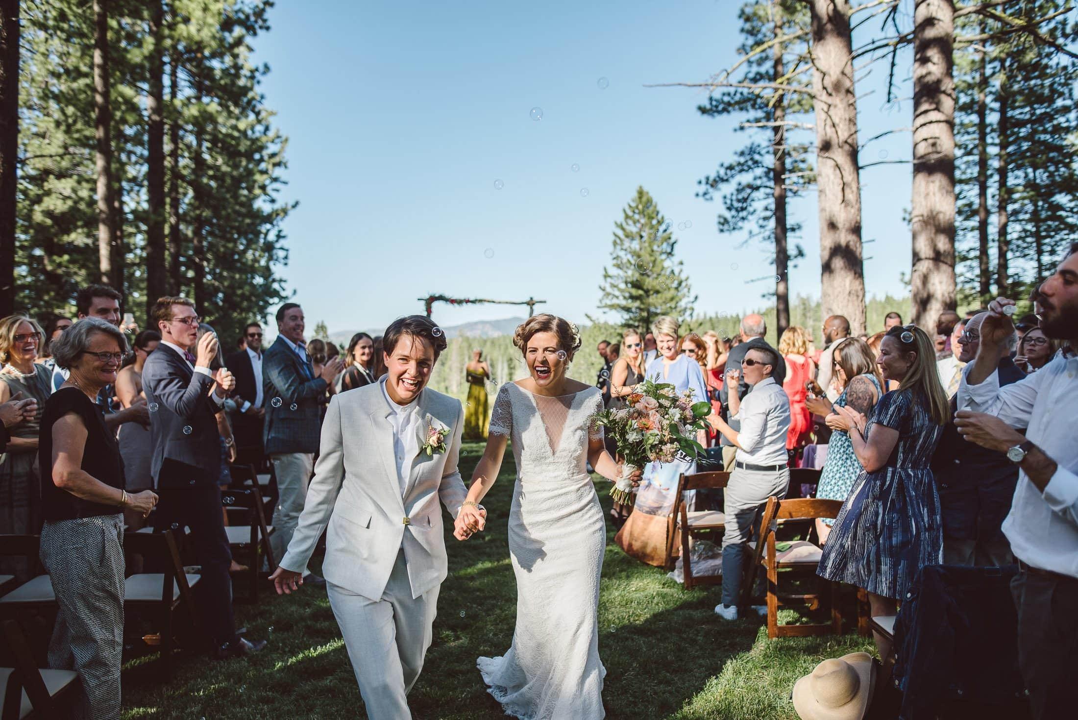Brides after wedding ceremony in truckee