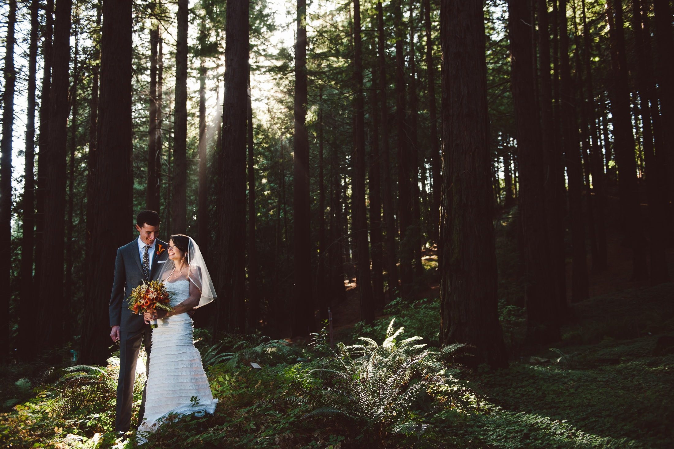 UC Botanical Gardens Redwood Grove Wedding Couple