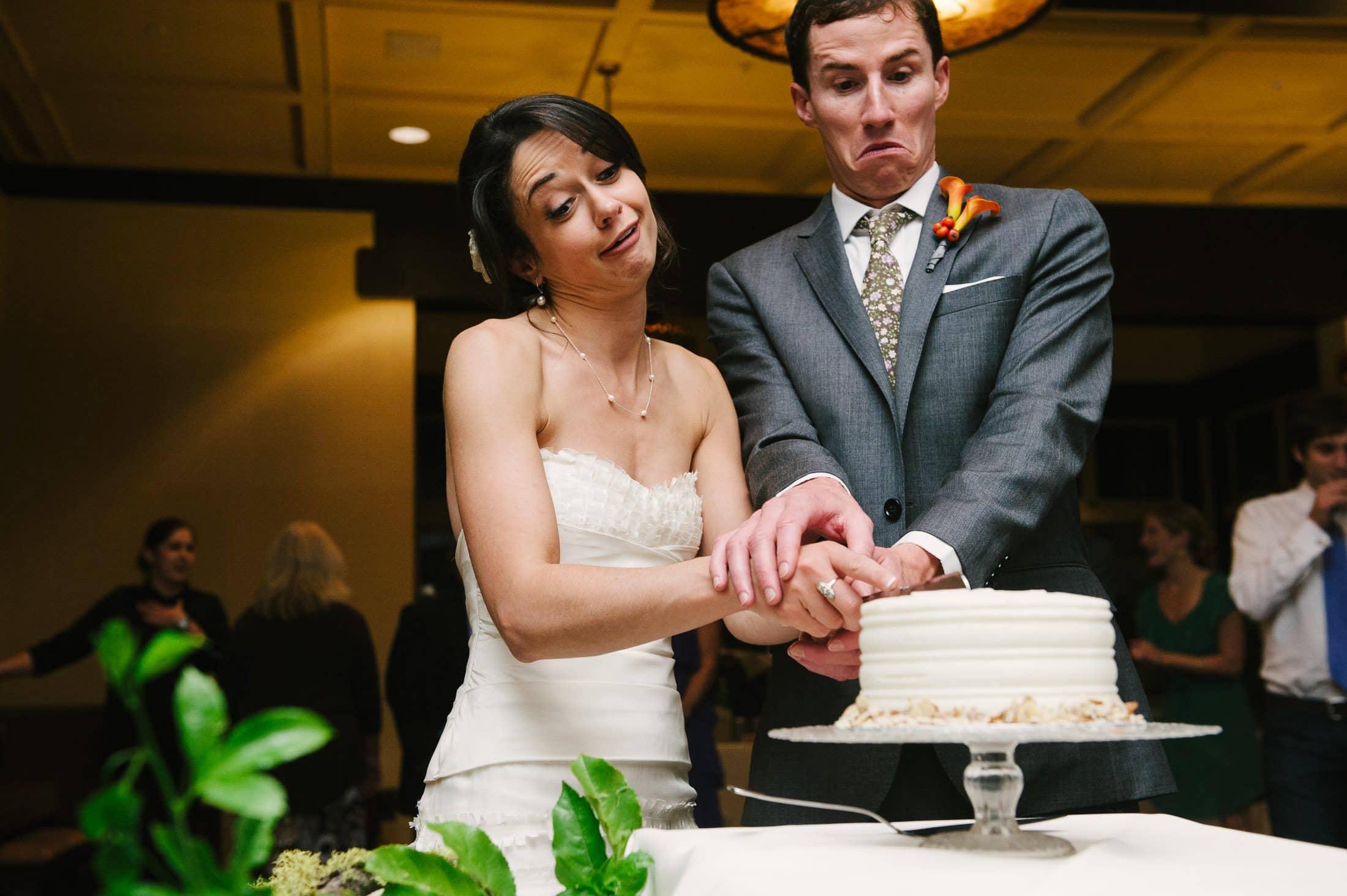 Fun cake cutting at berkeley wedding