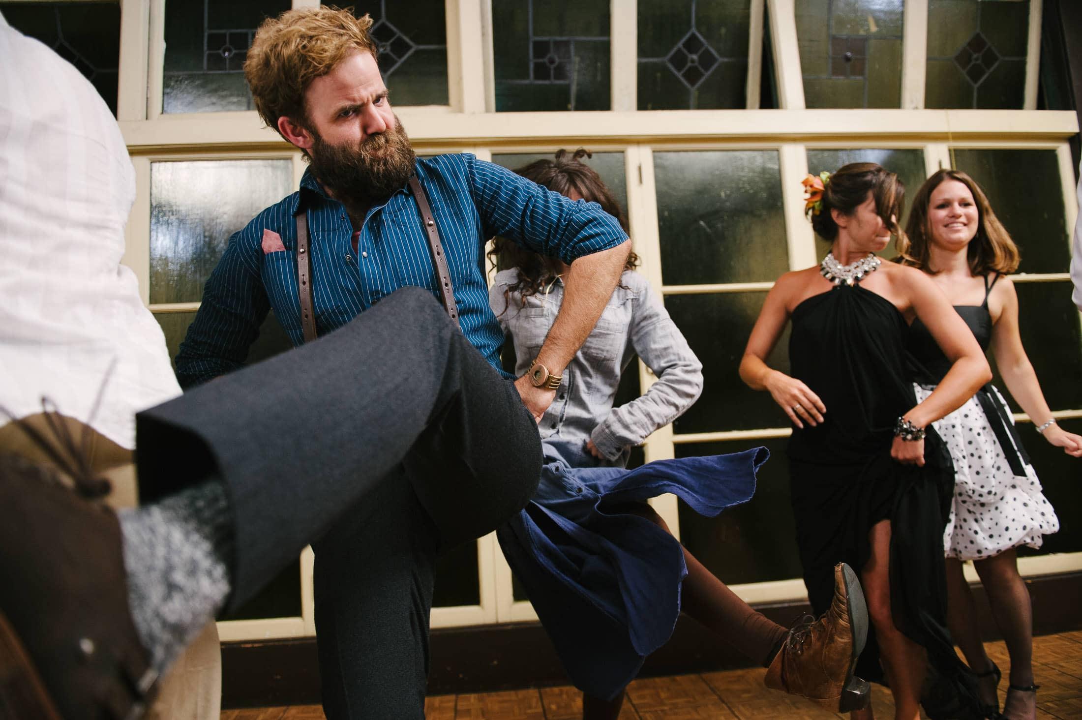 fun dance floor shot of guest at berkeley wedding