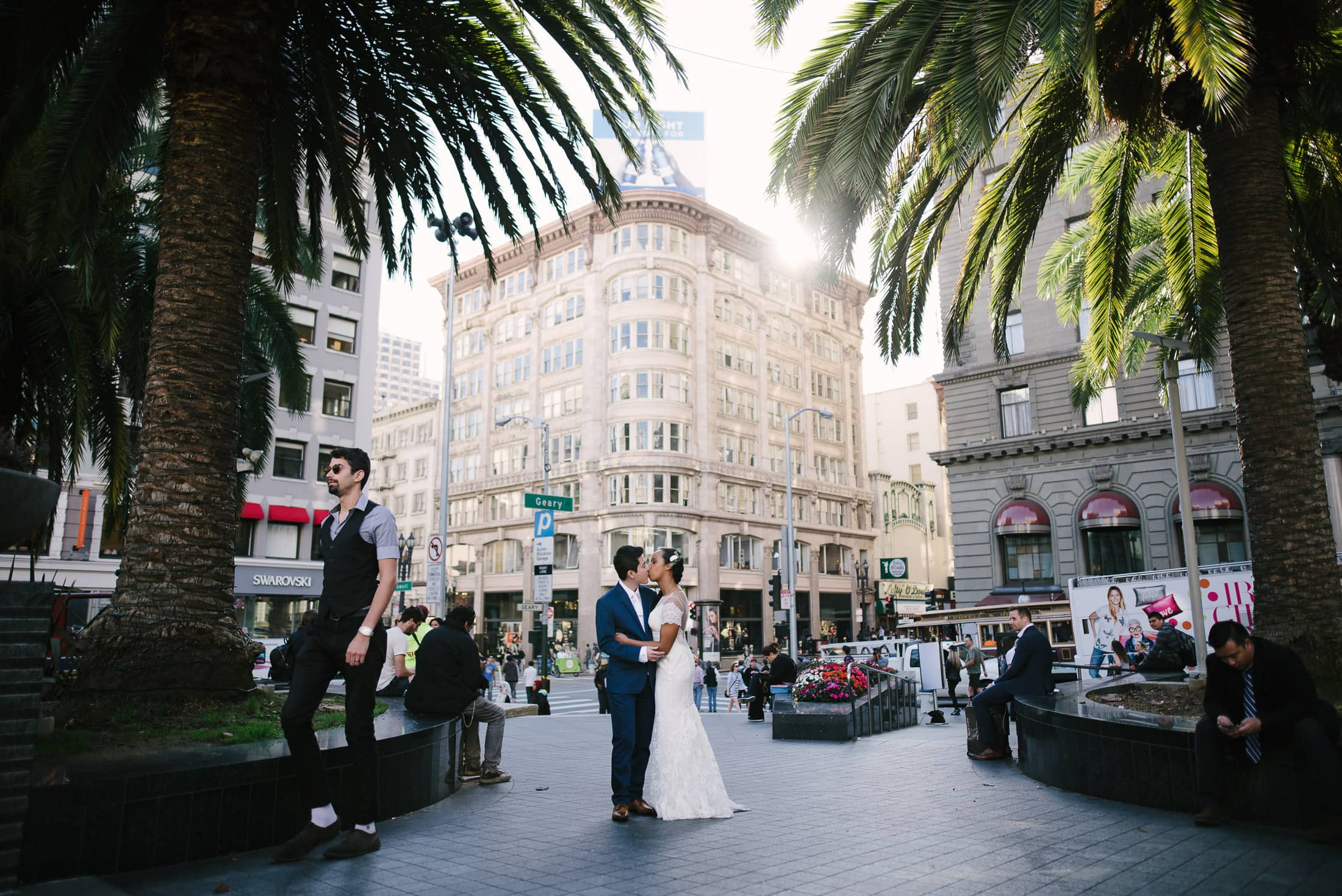 Couple Kissing in Union Square Wedding