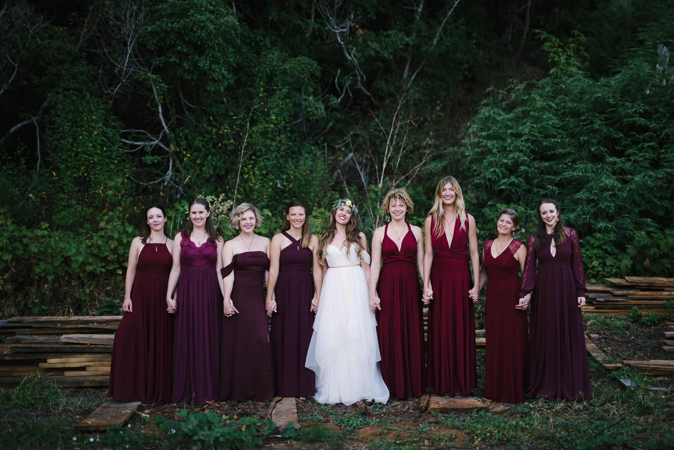 Oz Farm Wedding Bridal Party Portrait