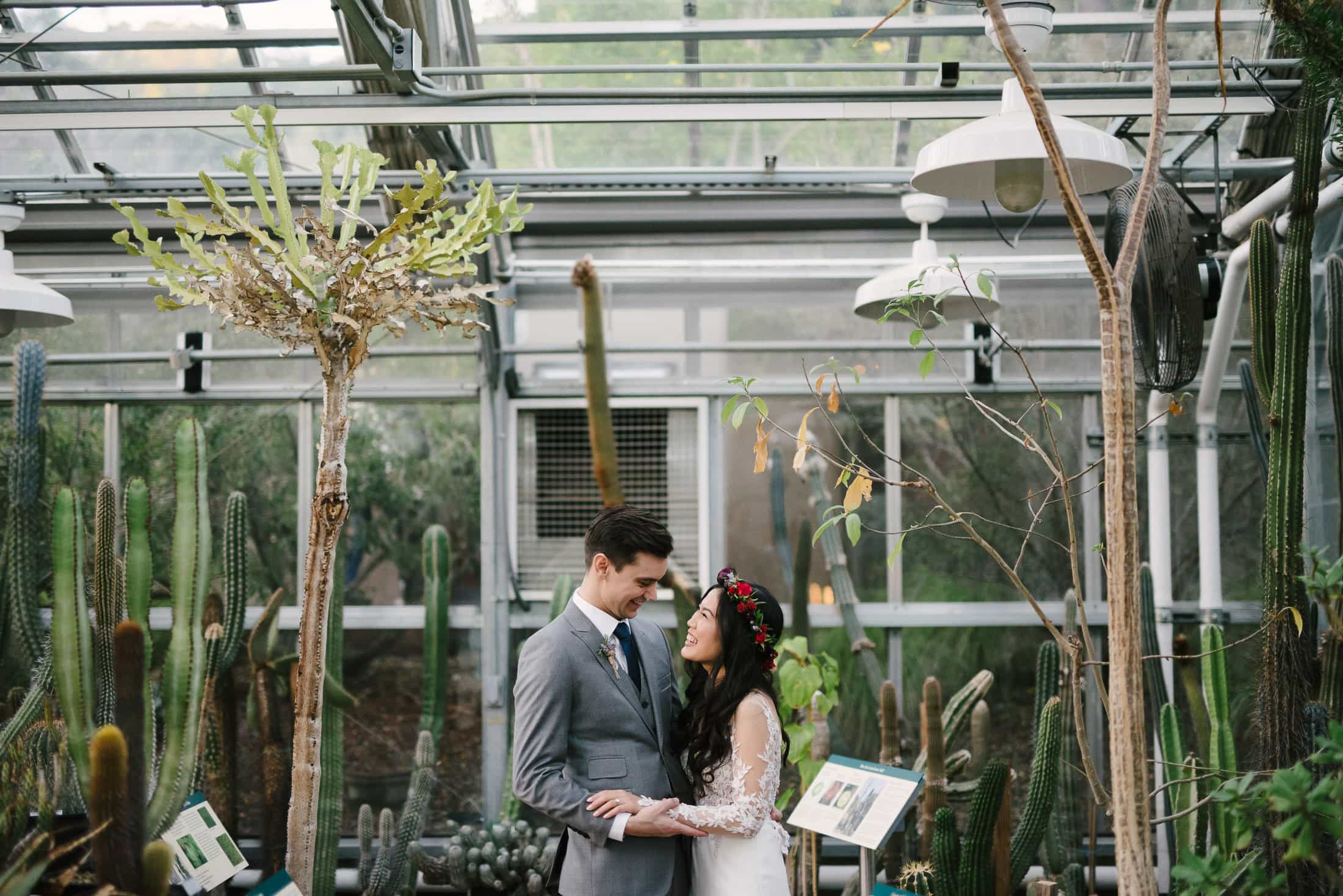 Berkeley Botanical Garden Wedding Cactus Garden Portrait