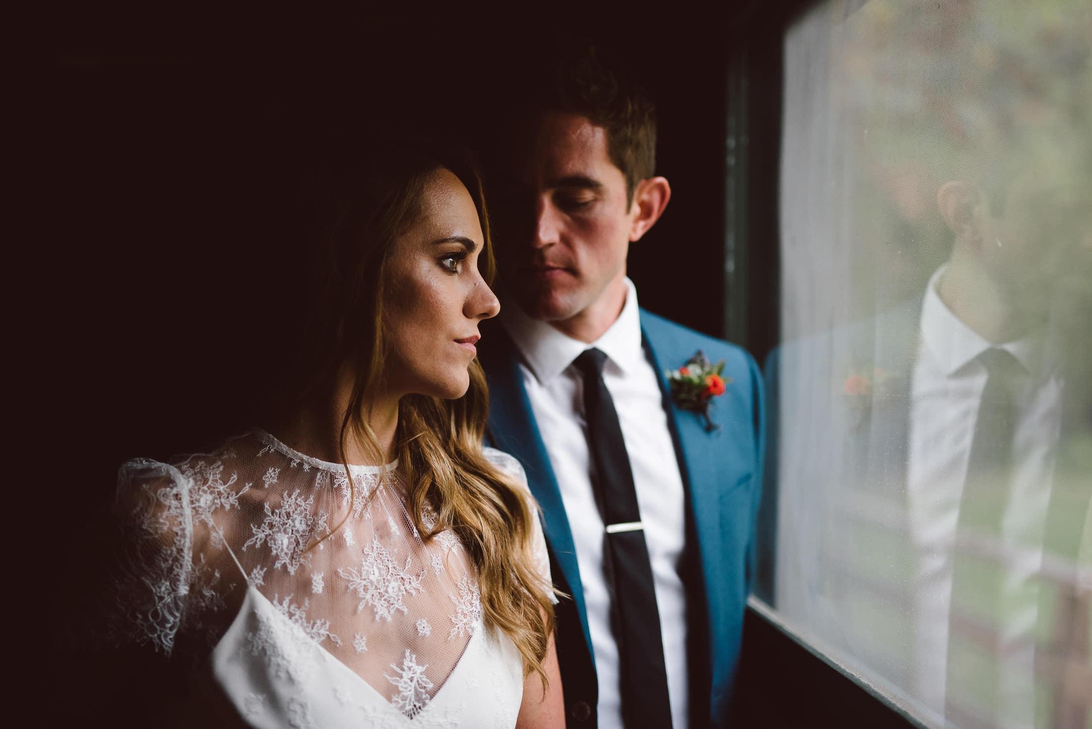Dramatic Portrait of Wedding Couple at Dawn Ranch